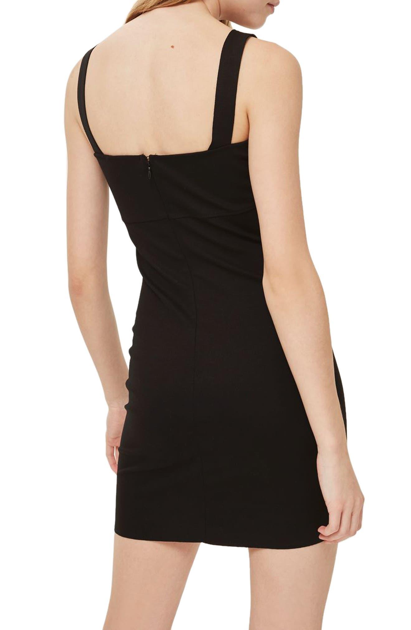 Bead Trim Body-Con Dress,                             Alternate thumbnail 2, color,                             Black