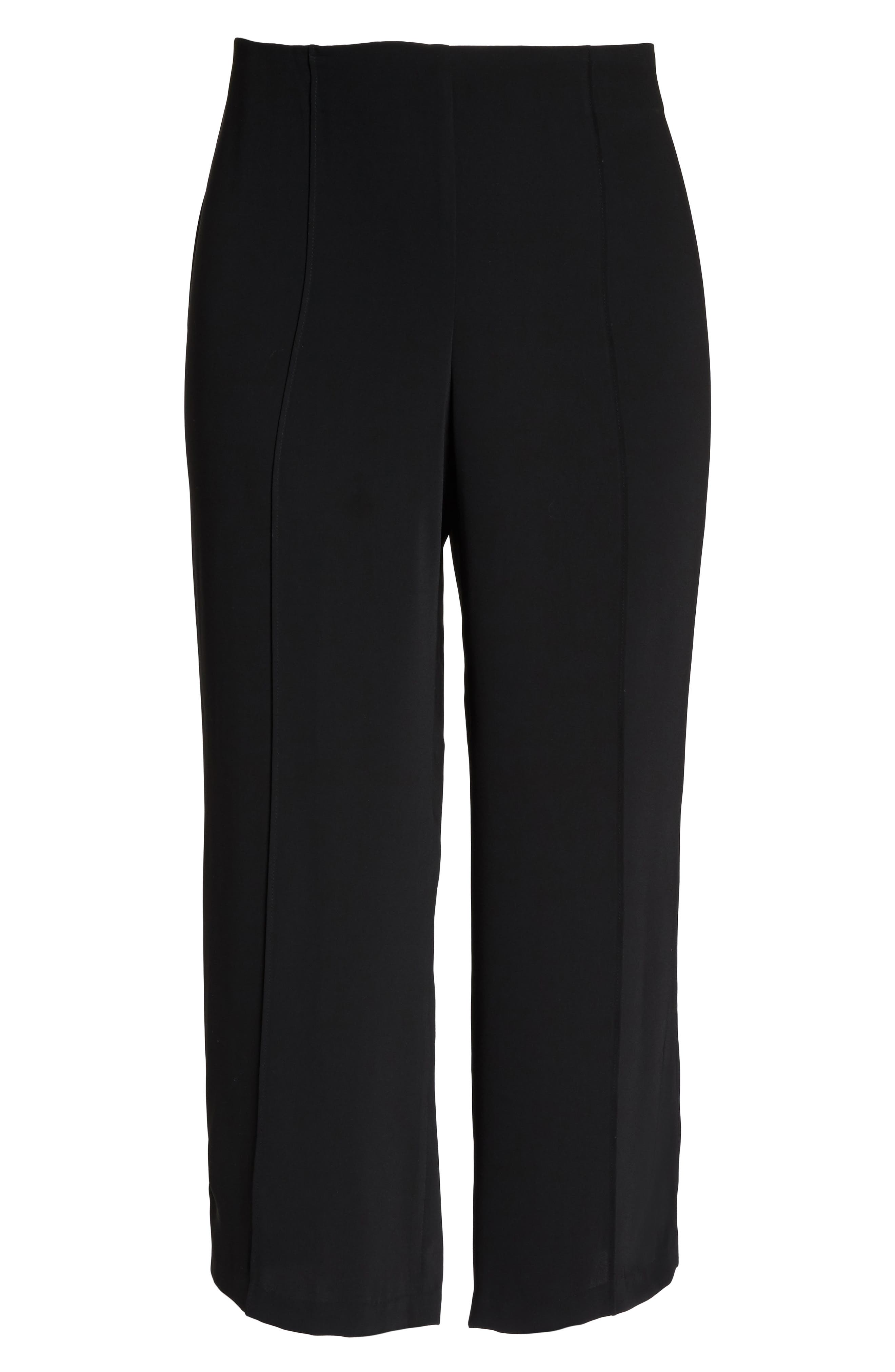 Wide Leg Ankle Pants,                             Alternate thumbnail 6, color,                             Black