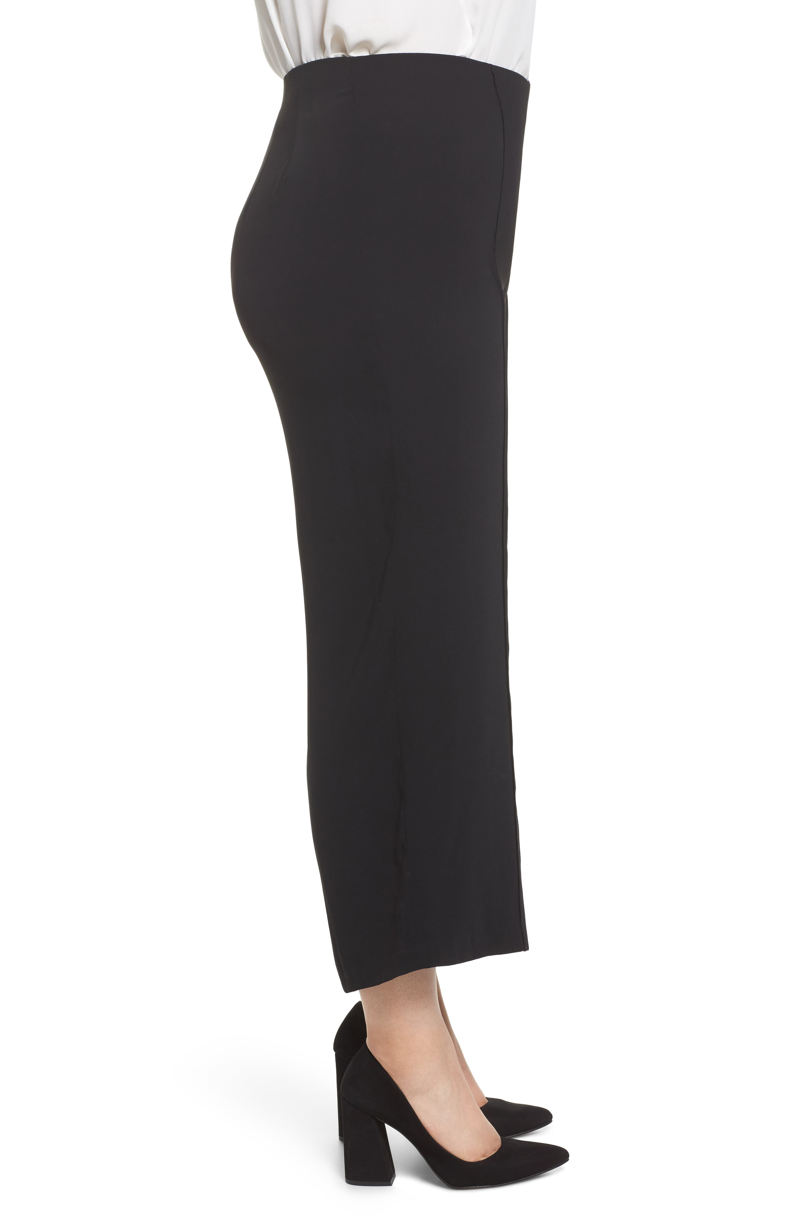 Wide Leg Ankle Pants,                             Alternate thumbnail 3, color,                             Black