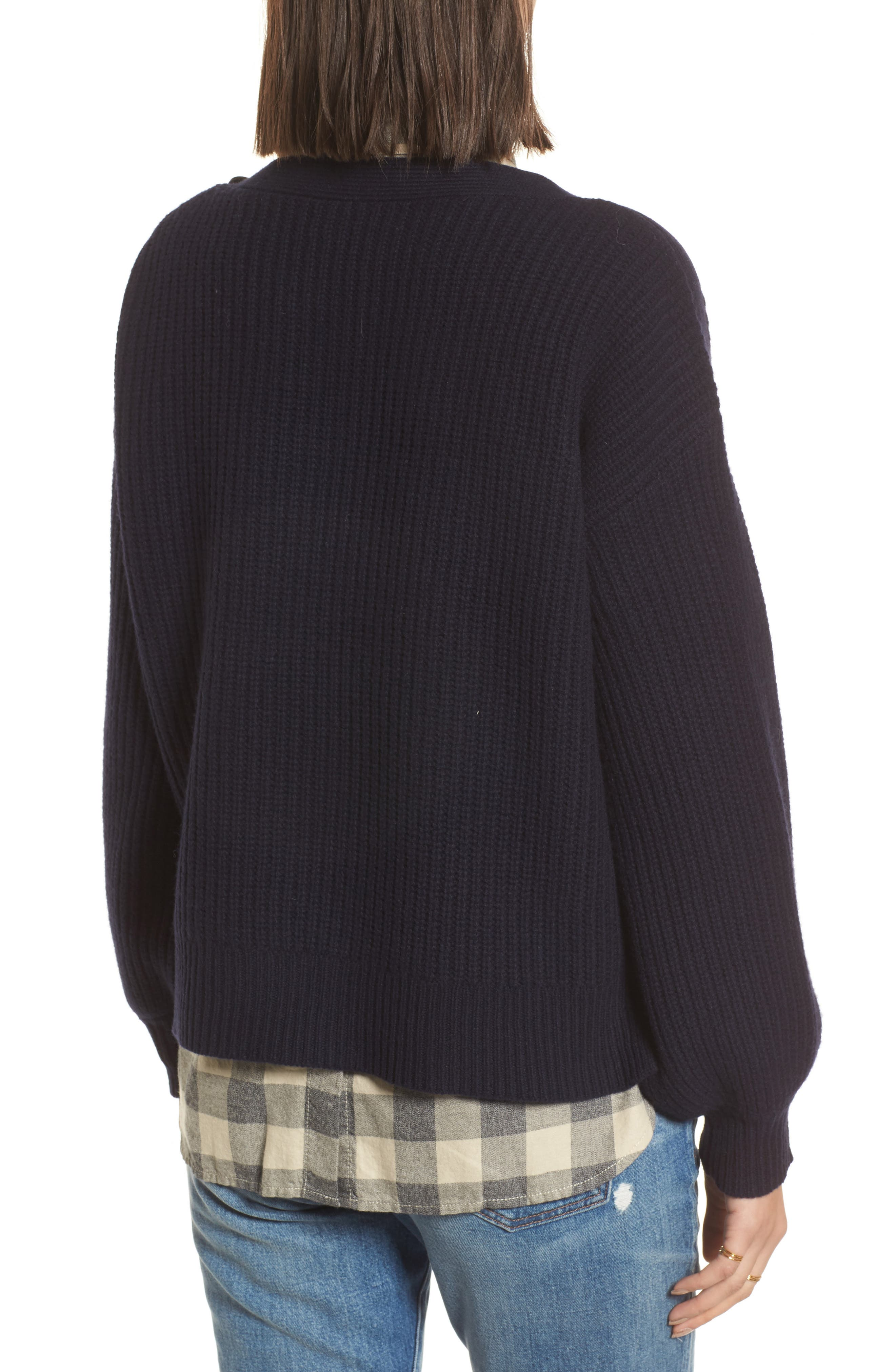 Boatneck Bubble Sleeve Sweater,                             Alternate thumbnail 2, color,                             Navy