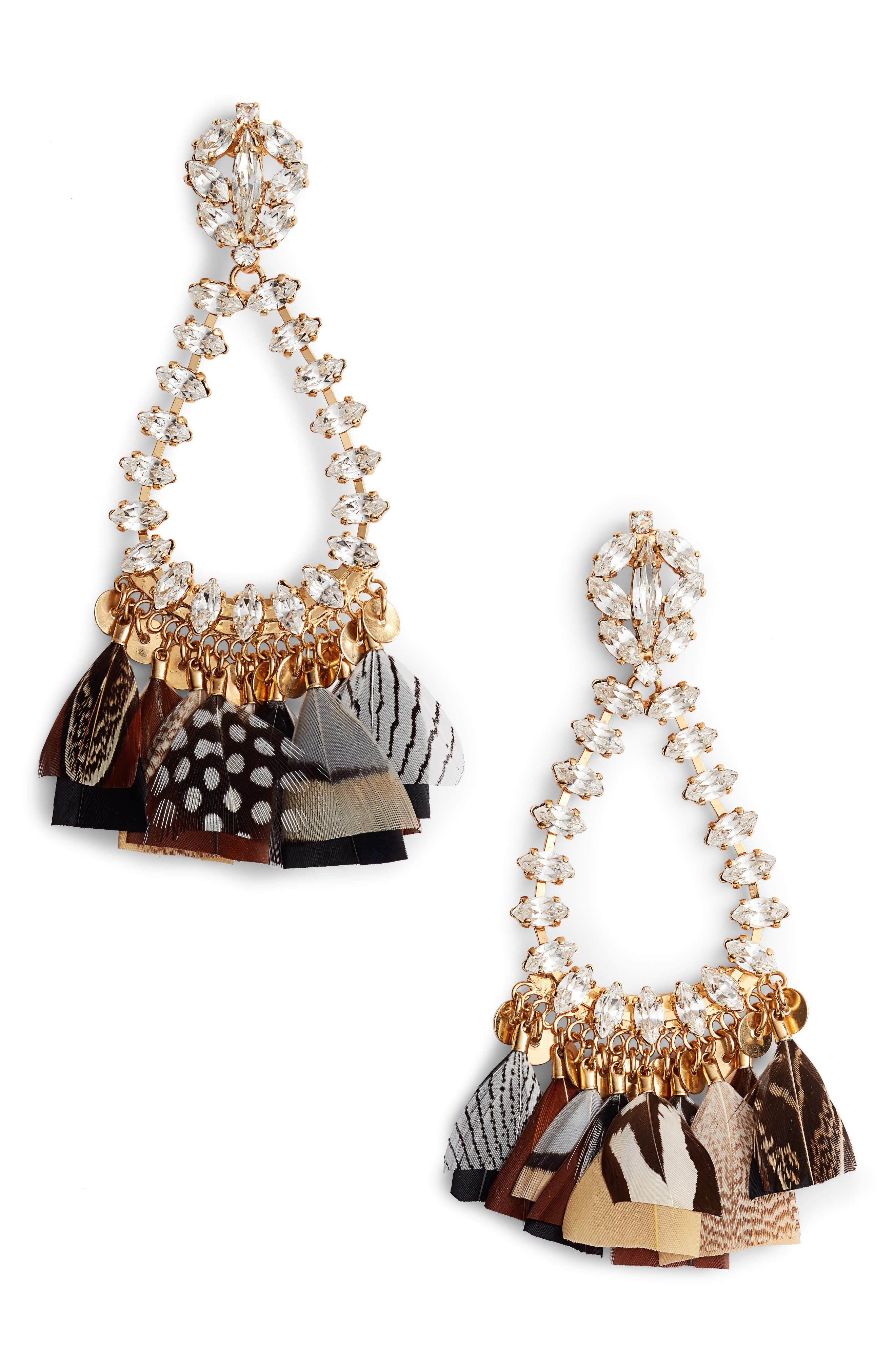 Riviera Statement Earrings,                             Main thumbnail 1, color,                             Black/ Gold