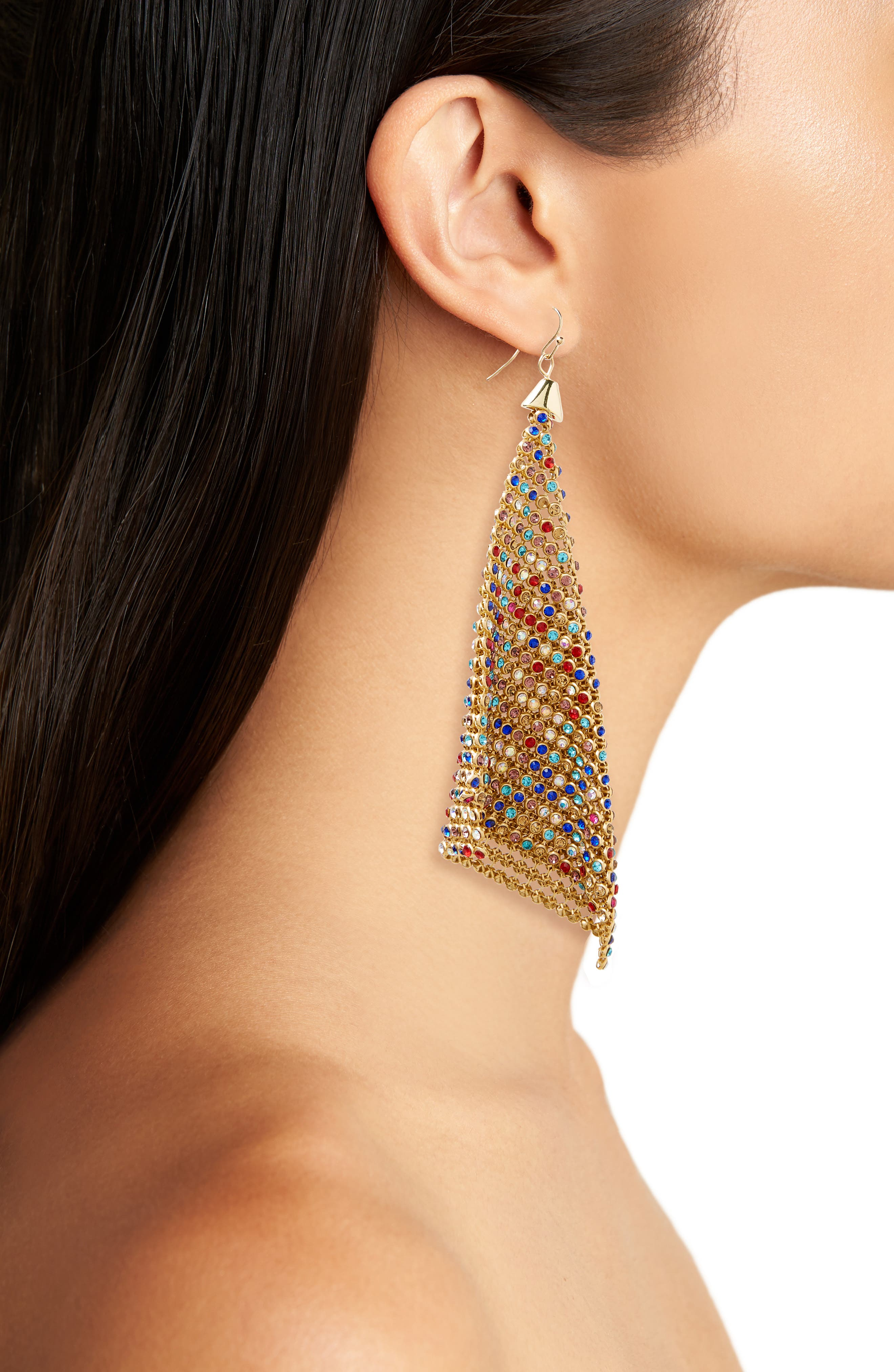Crystal Mesh Drop Earrings,                             Alternate thumbnail 2, color,                             Gold Multi