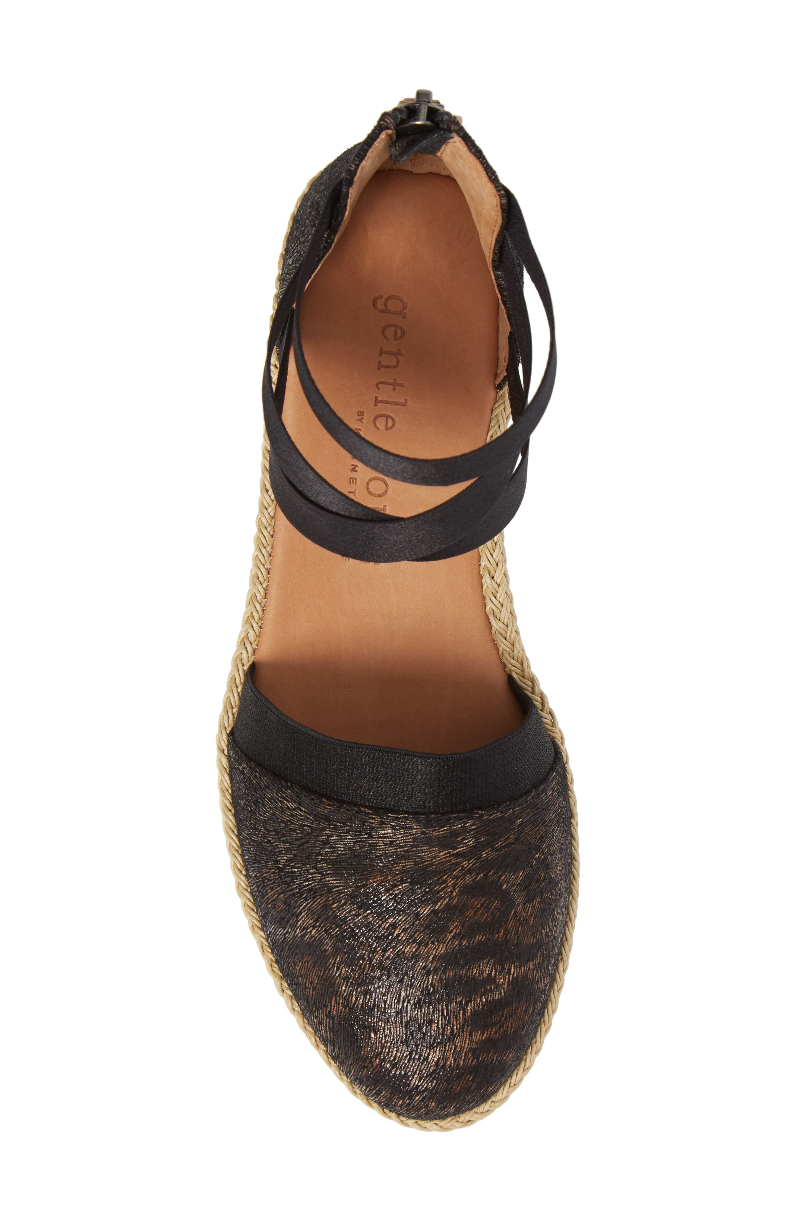 by Kenneth Cole Beth Espadrille Sandal,                             Alternate thumbnail 5, color,                             Black Leopard Printed Leather