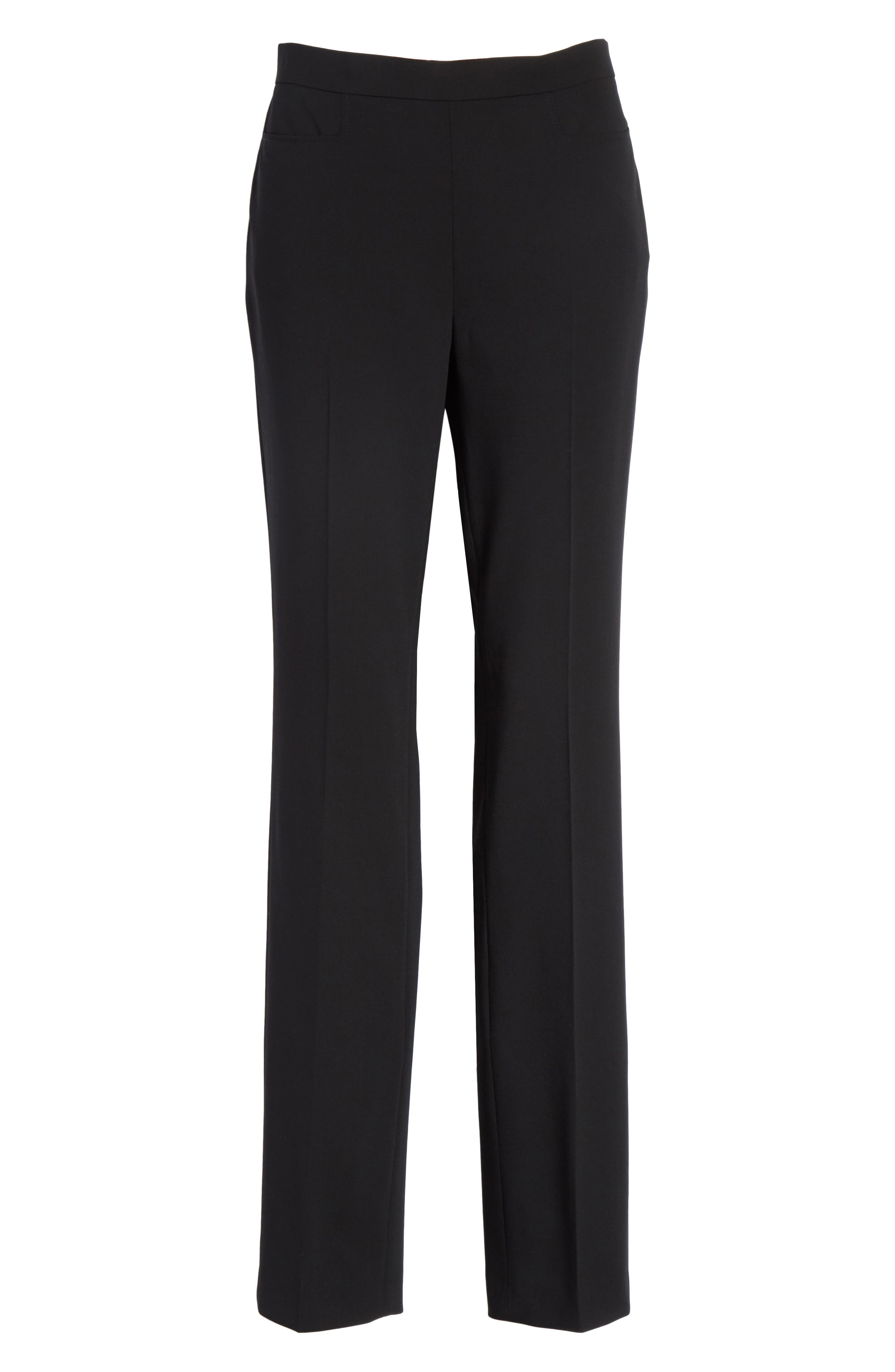 Francoise Wool Straight Leg Pants,                             Alternate thumbnail 6, color,                             Black