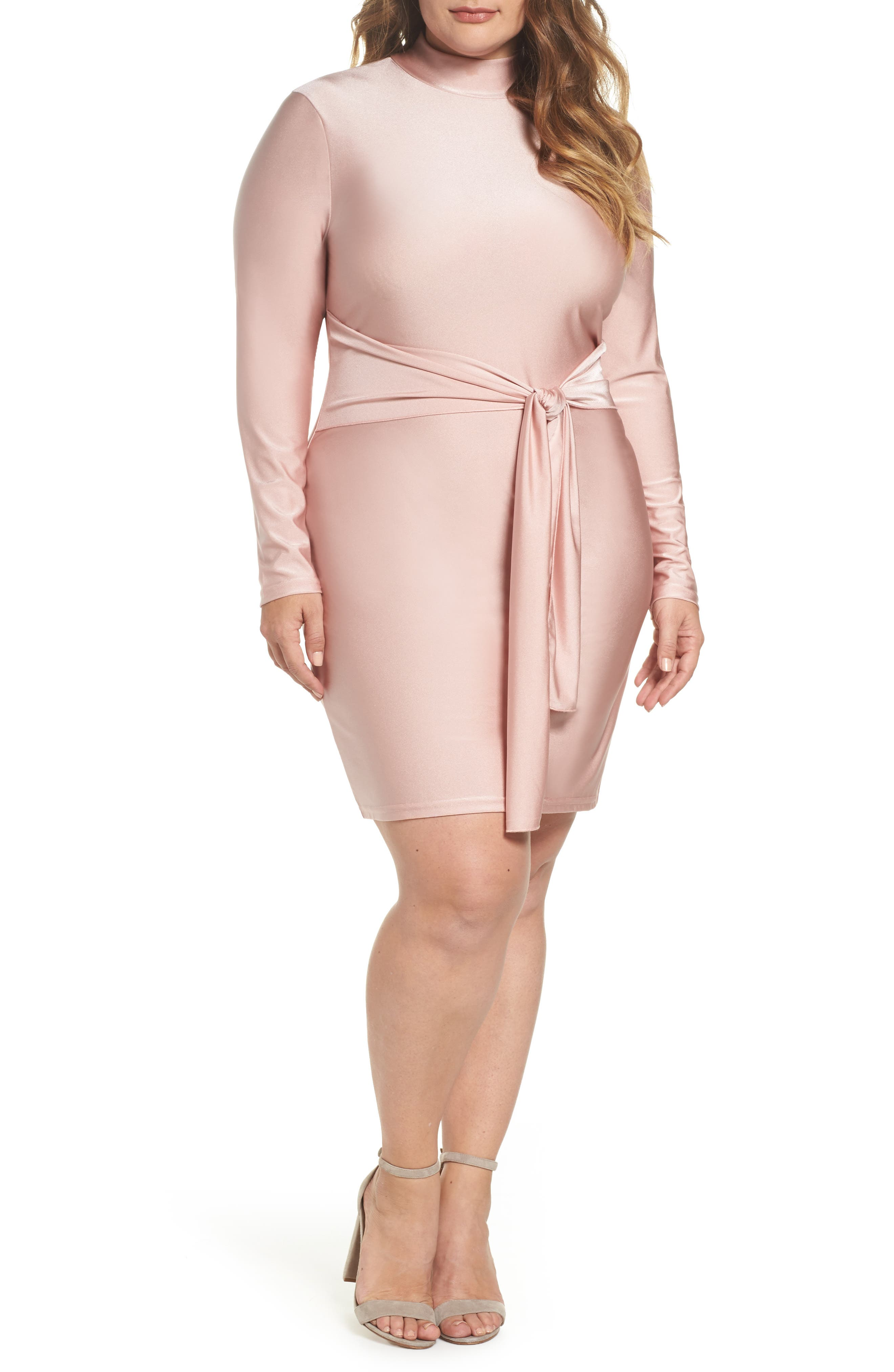 Shimmer Tie-Front Dress,                         Main,                         color, Pink