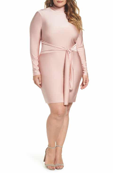 Glamorous Shimmer Tie Front Dress Plus Size
