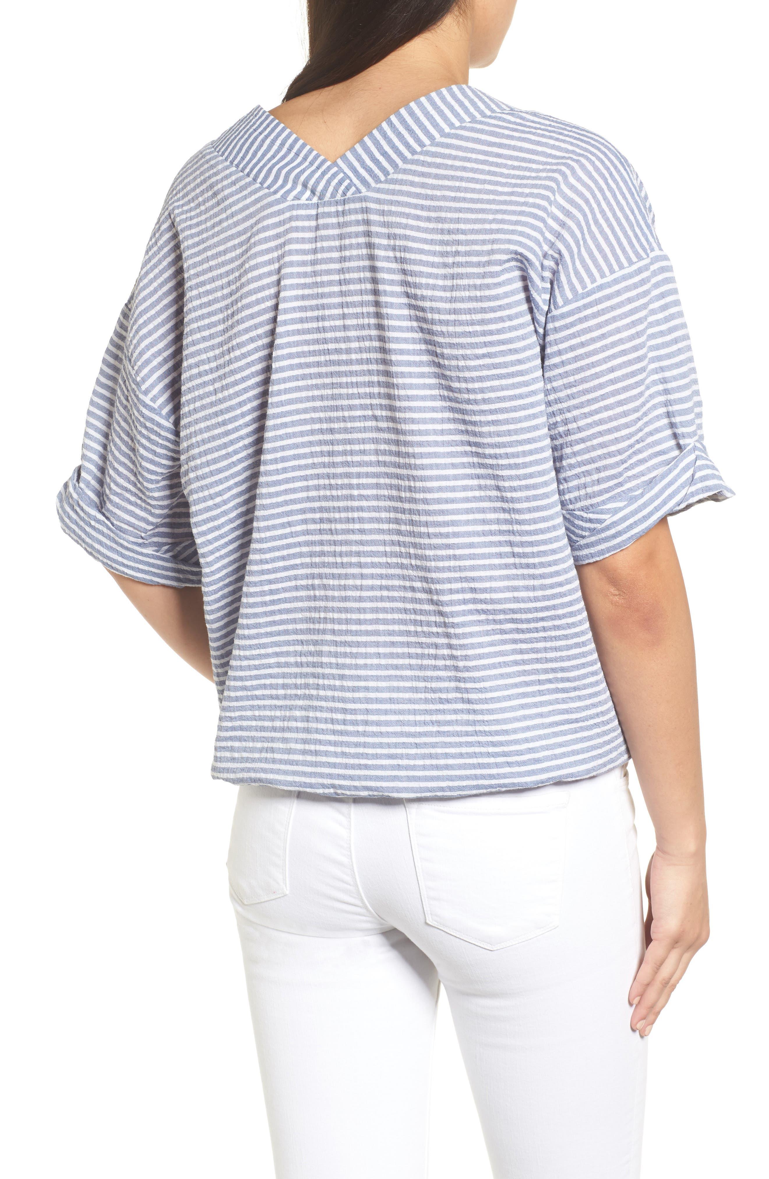 Tie Waist Stripe Seersucker Top,                             Alternate thumbnail 2, color,                             Blue- White Stripe