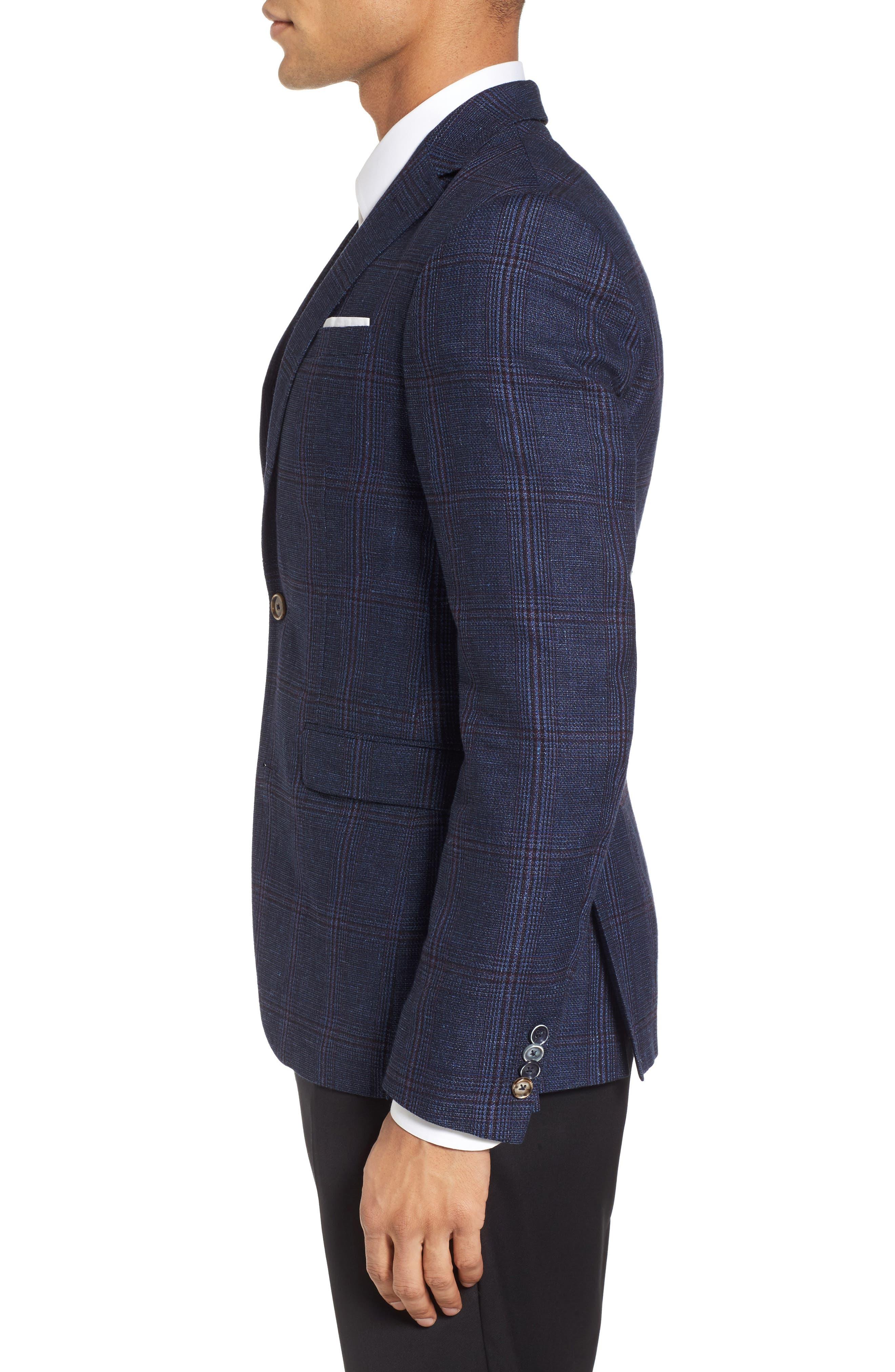 Trim Fit Plaid Linen & Wool Sport Coat,                             Alternate thumbnail 3, color,                             Navy Red