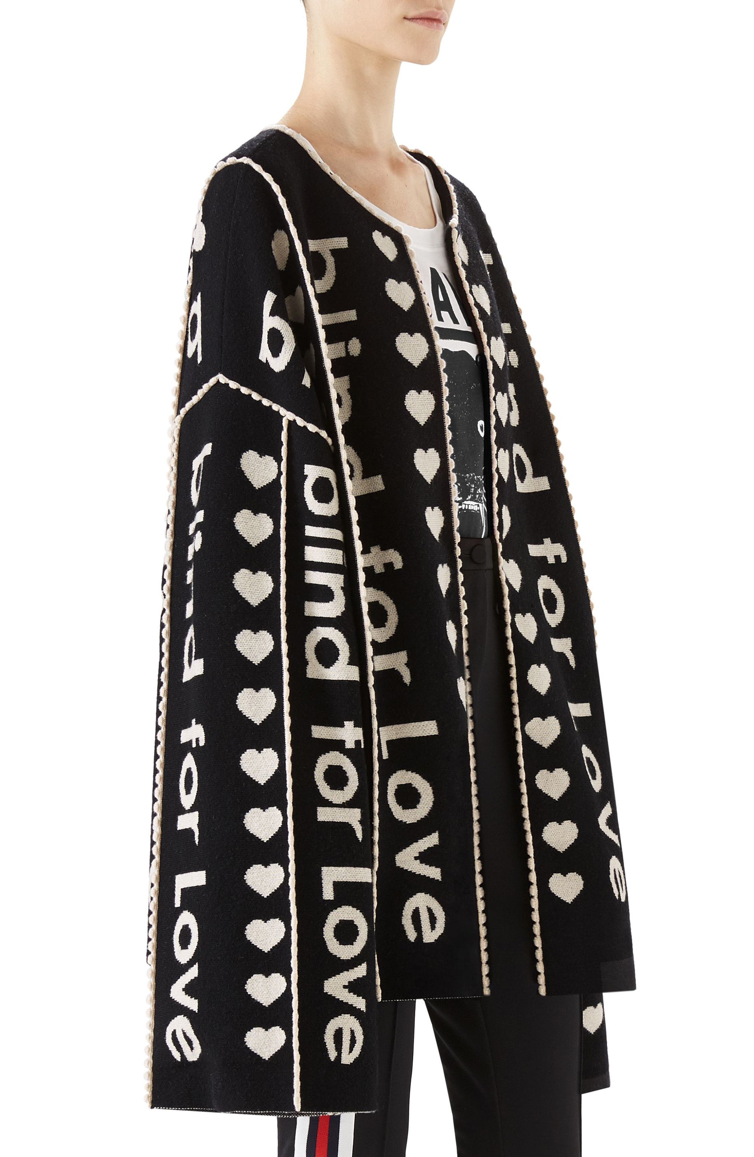 Blind for Love Jacquard Sweater Coat,                             Alternate thumbnail 3, color,                             Black