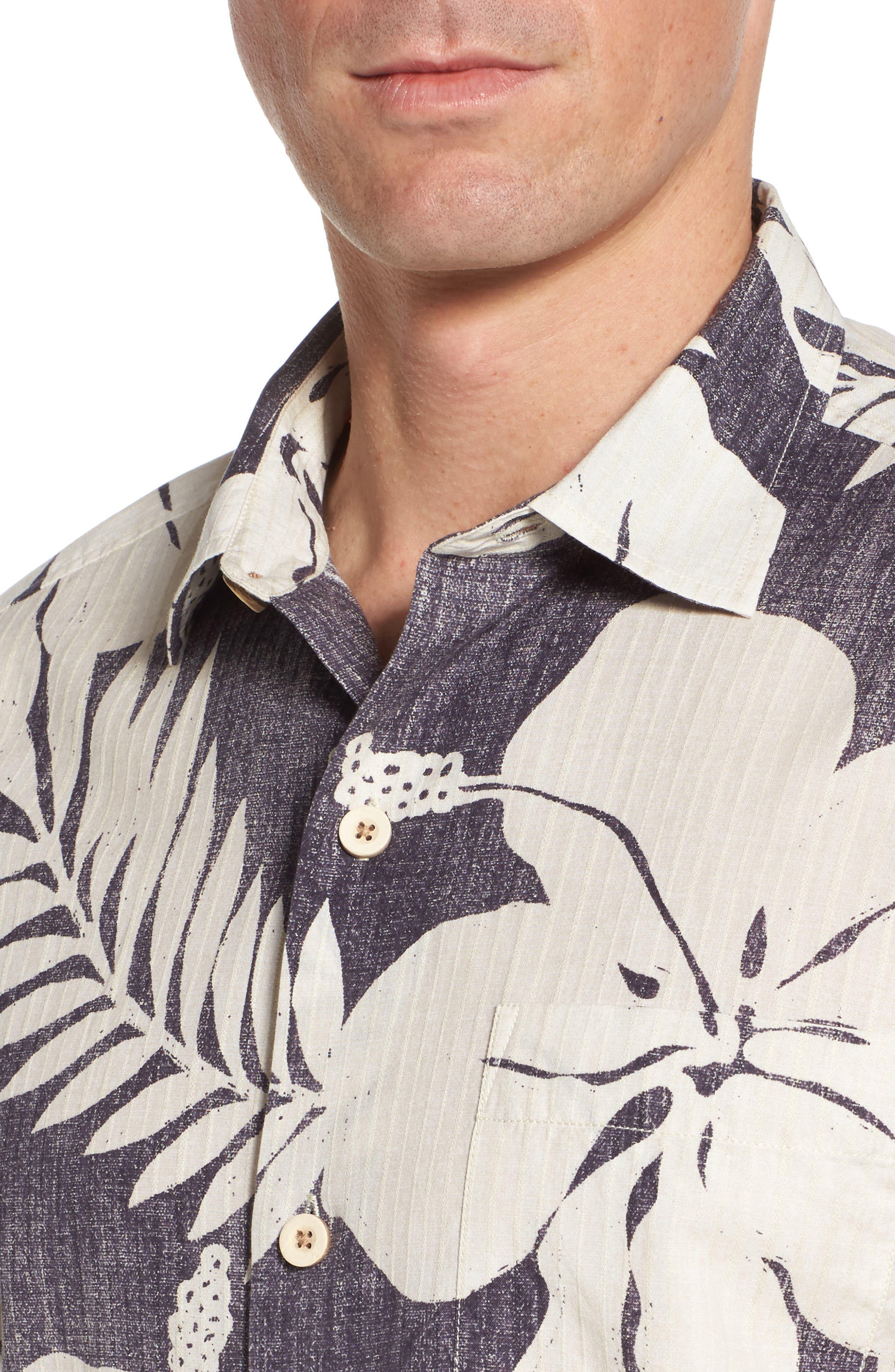 Hialeah Hibiscus Camp Shirt,                             Alternate thumbnail 4, color,                             Steel Wool