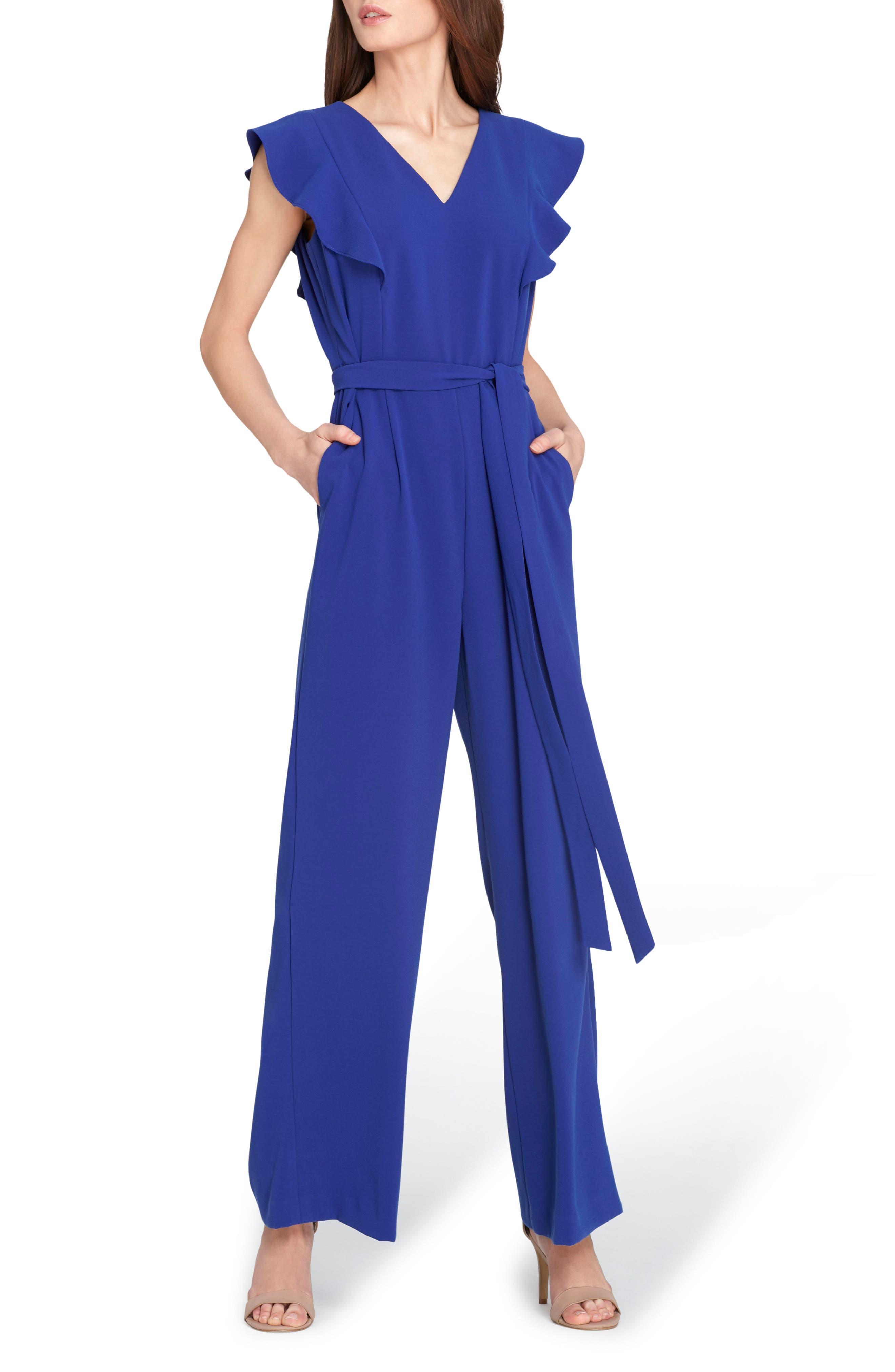 Flutter Sleeve Jumpsuit,                         Main,                         color, Cobalt