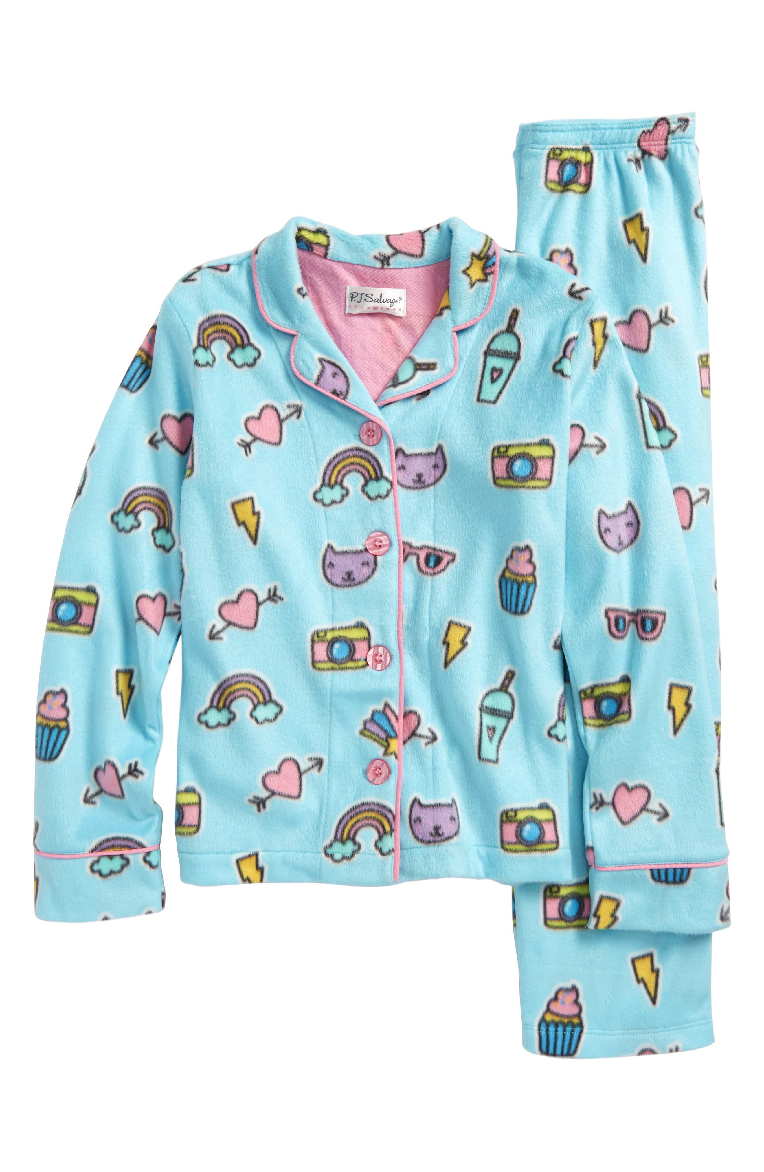 Two-Piece Fleece Pajamas,                         Main,                         color, Aqua