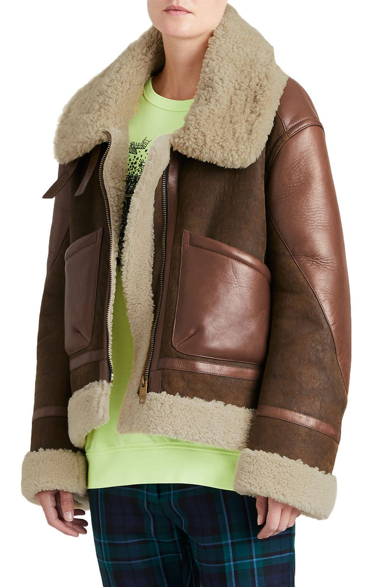 Blexley Genuine Shearling Coat,                             Alternate thumbnail 3, color,                             Dark Chocolate