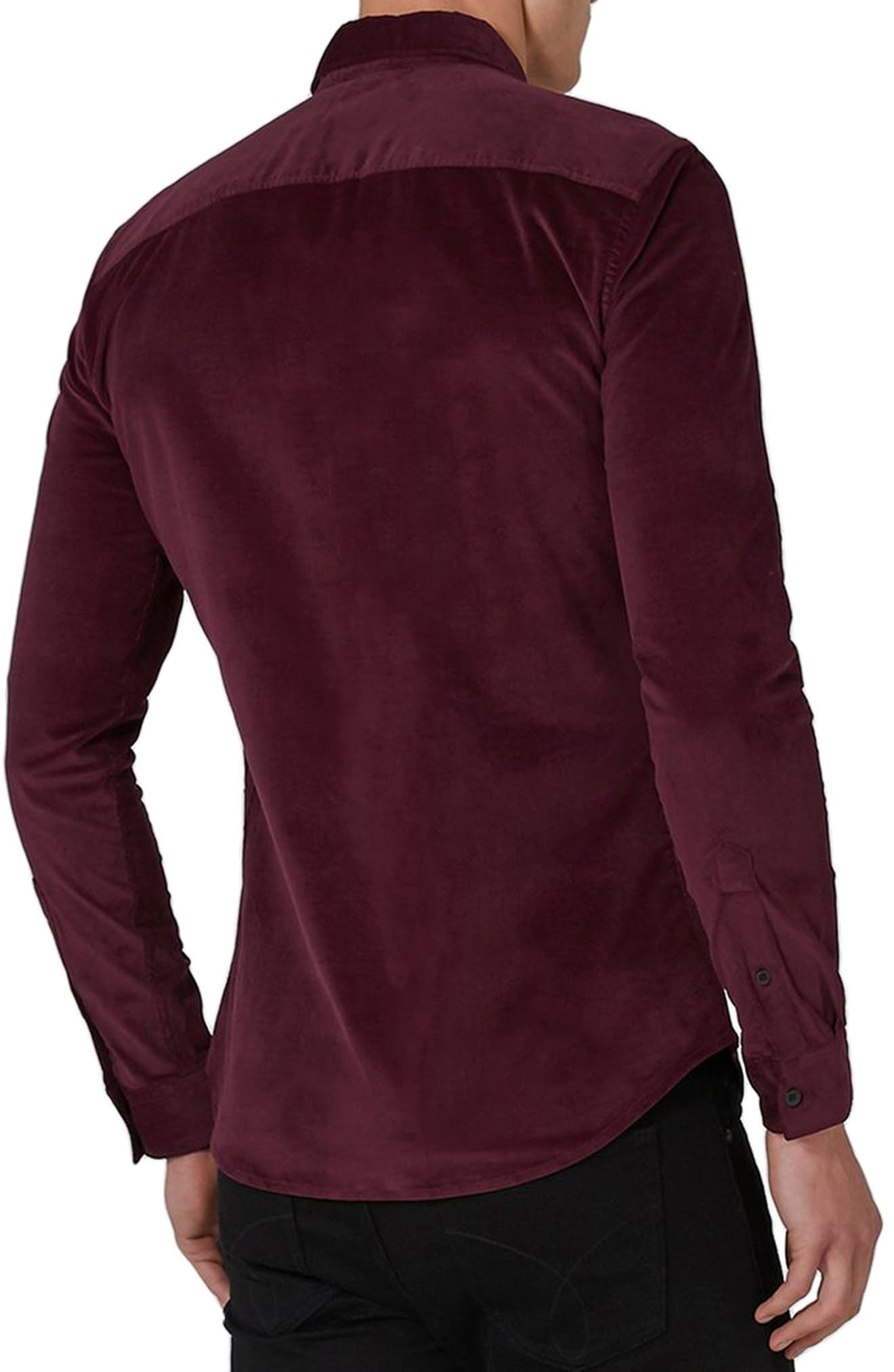 Muscle Fit Corduroy Shirt,                             Alternate thumbnail 2, color,                             Burgundy