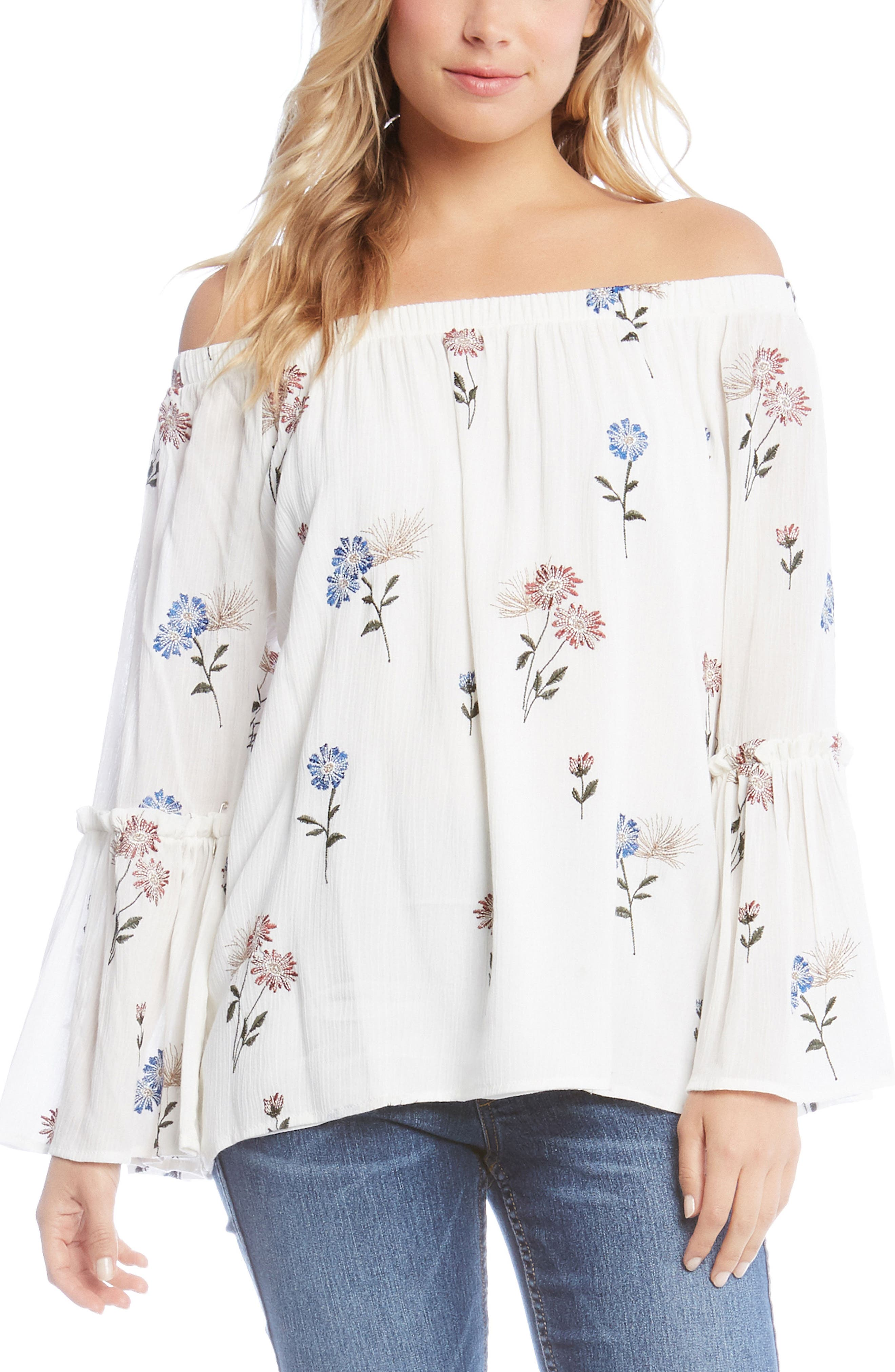 Off the Shoulder Embroidered Top,                             Main thumbnail 1, color,                             Off White