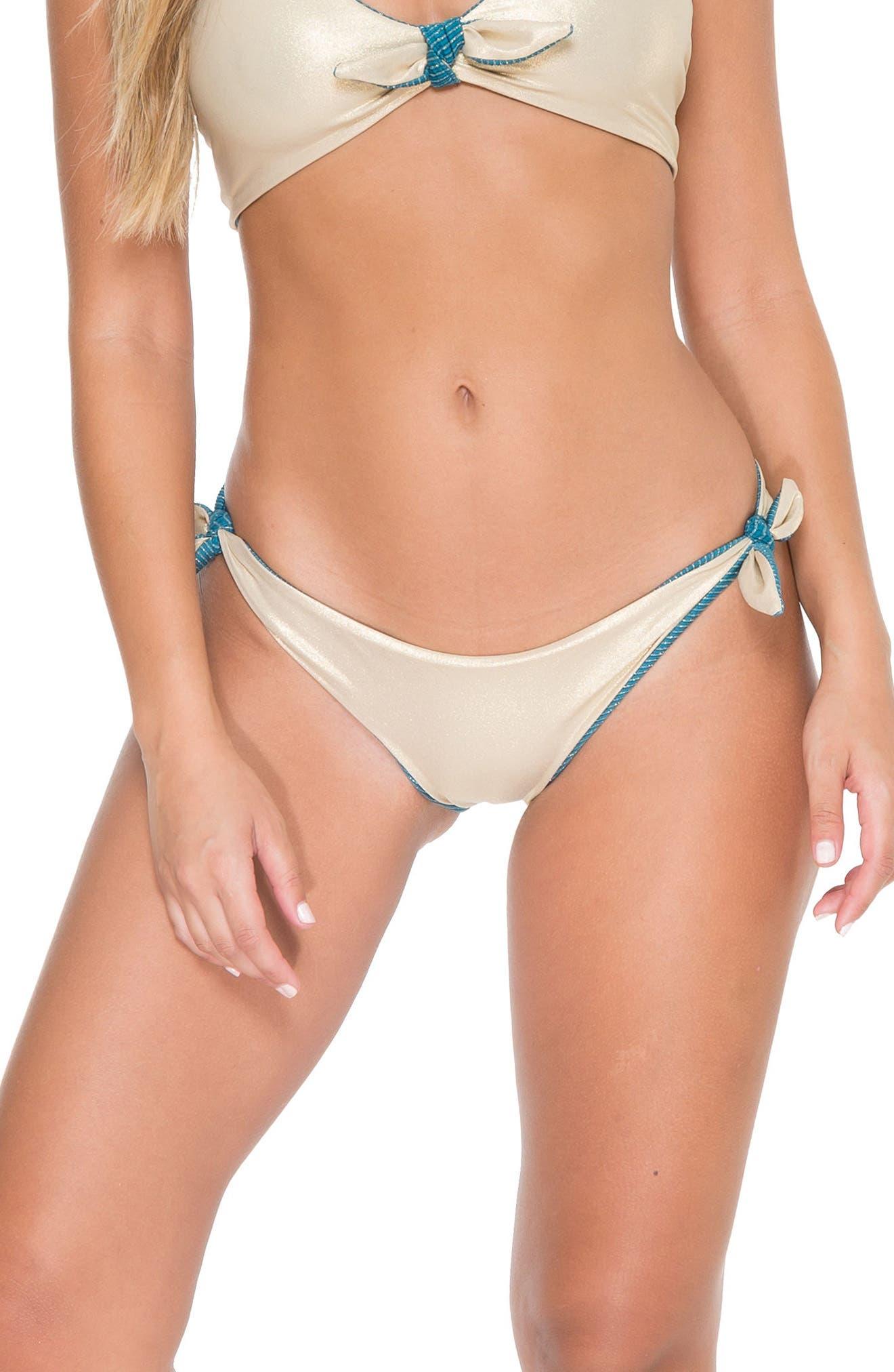 Cayo Hueso Reversible Bikini Bottoms,                             Alternate thumbnail 5, color,                             Miramar Blue/ Gold