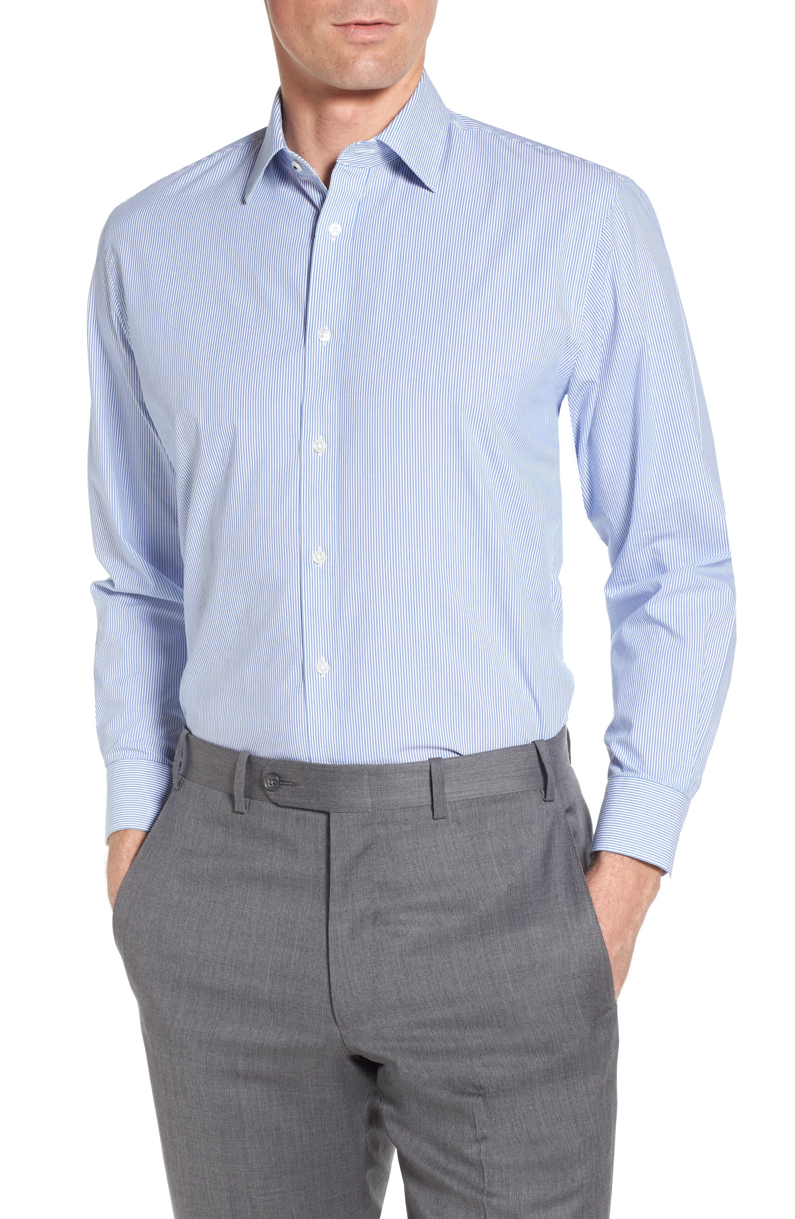 Tech-Smart Traditional Fit Stretch Stripe Dress Shirt,                         Main,                         color, Blue Yonder