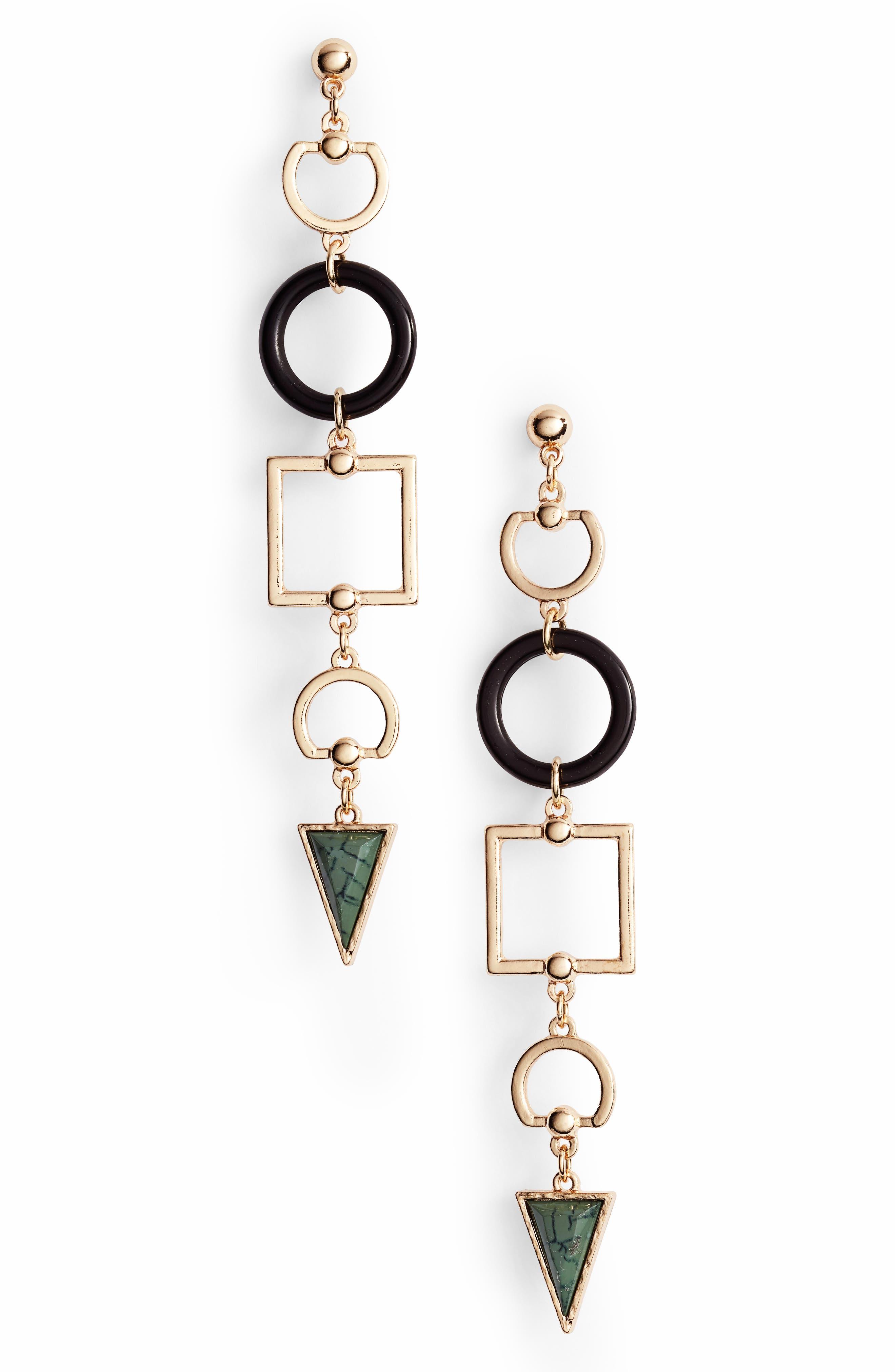 Geometric Stone Drop Earrings,                         Main,                         color, Gold/ Black/ Green
