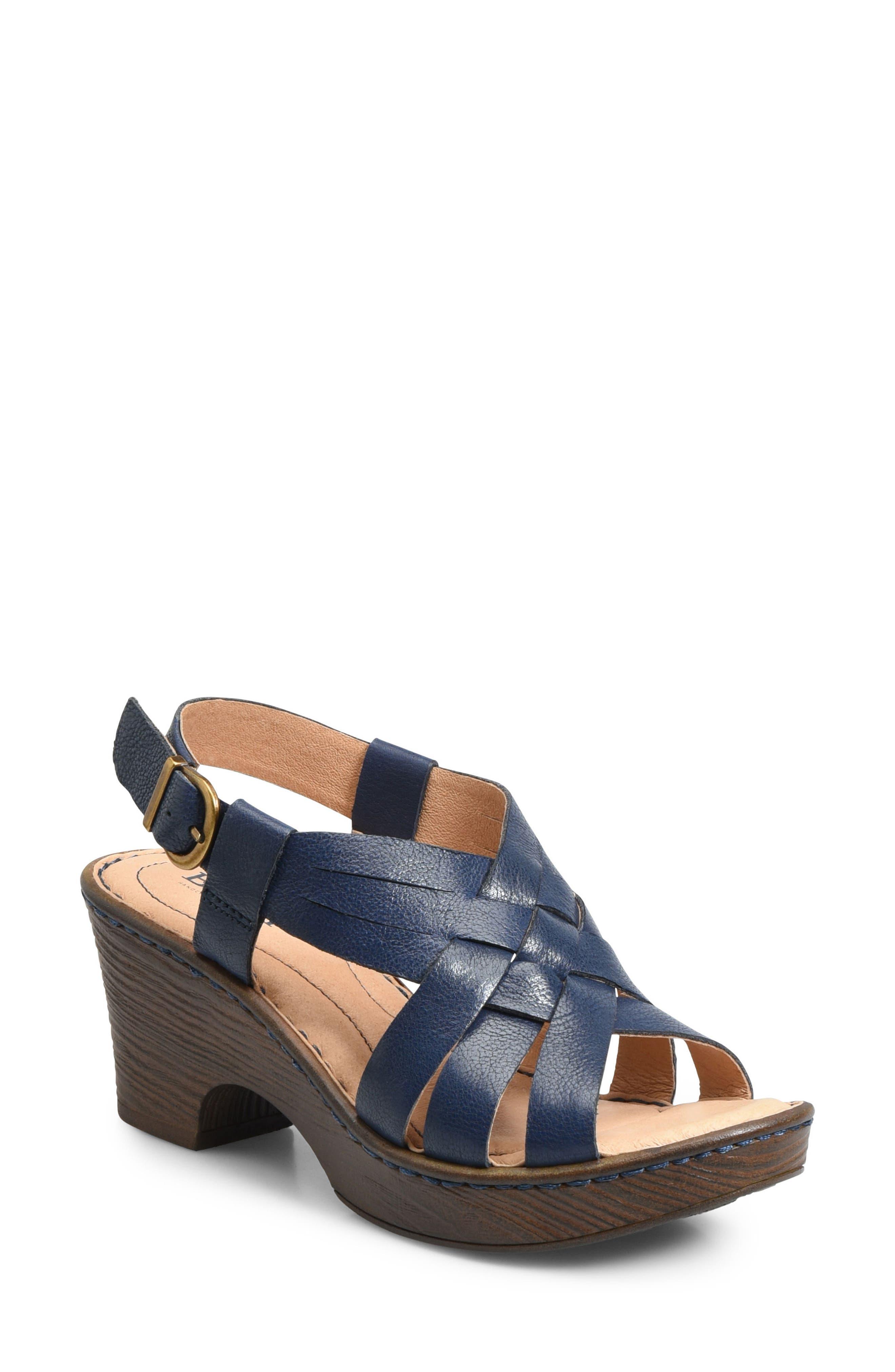 Crevalle Platform Sandal,                         Main,                         color, Navy Leather