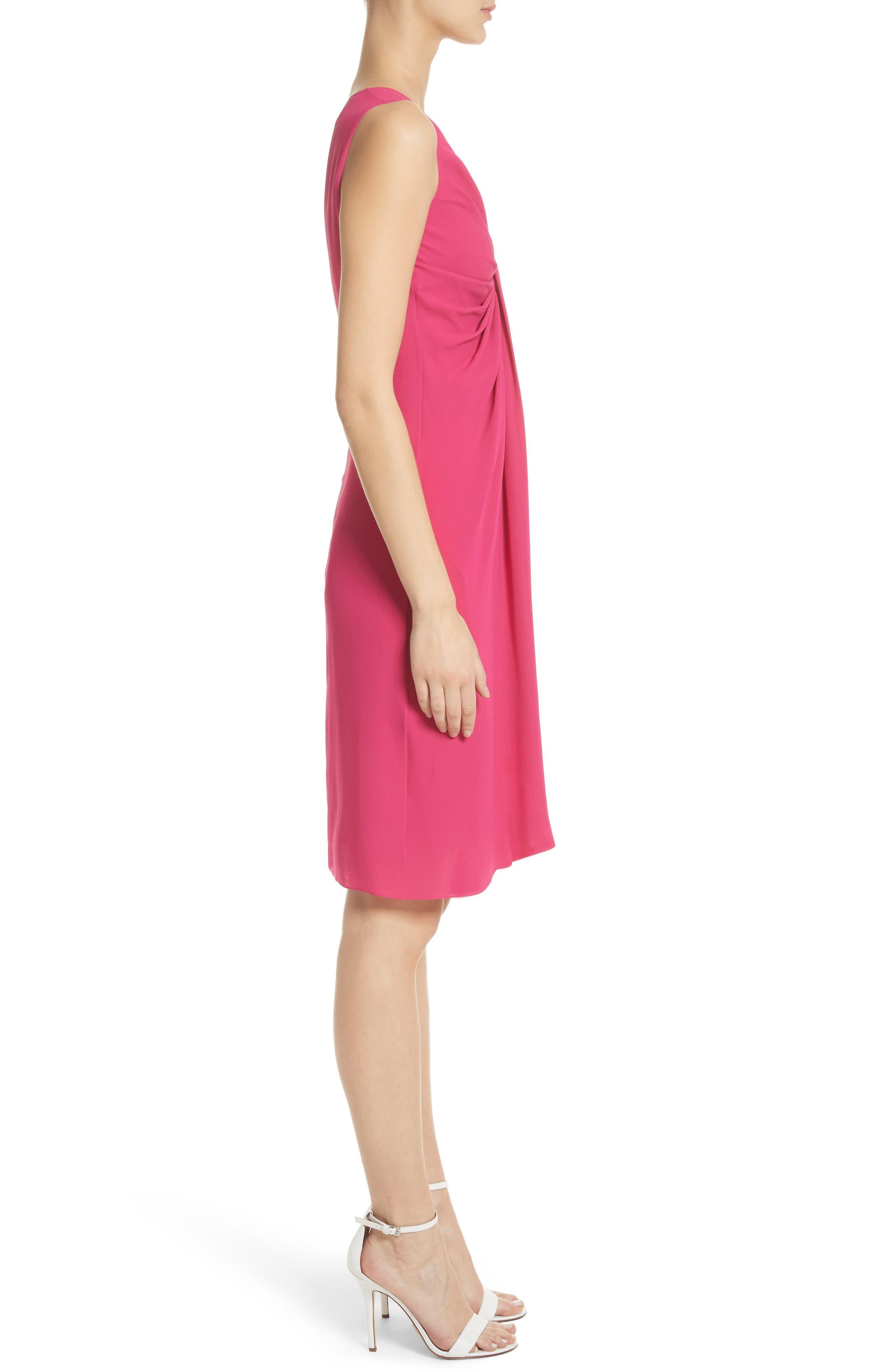 Gathered Silk Dress,                             Alternate thumbnail 3, color,                             Hibiscus