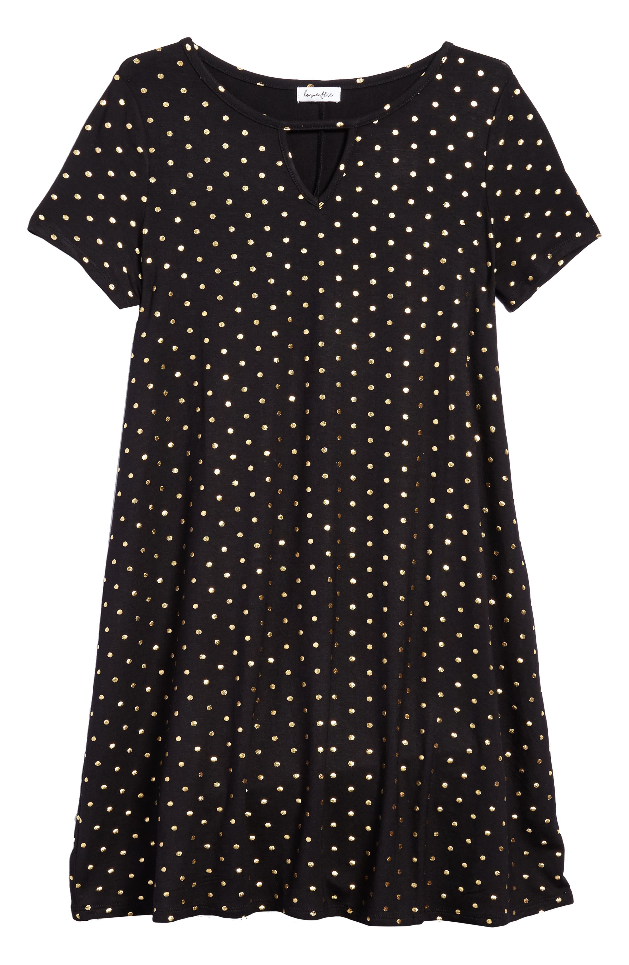 Foil Polka Dot Jersey Dress,                         Main,                         color, Black/ Gold Foil