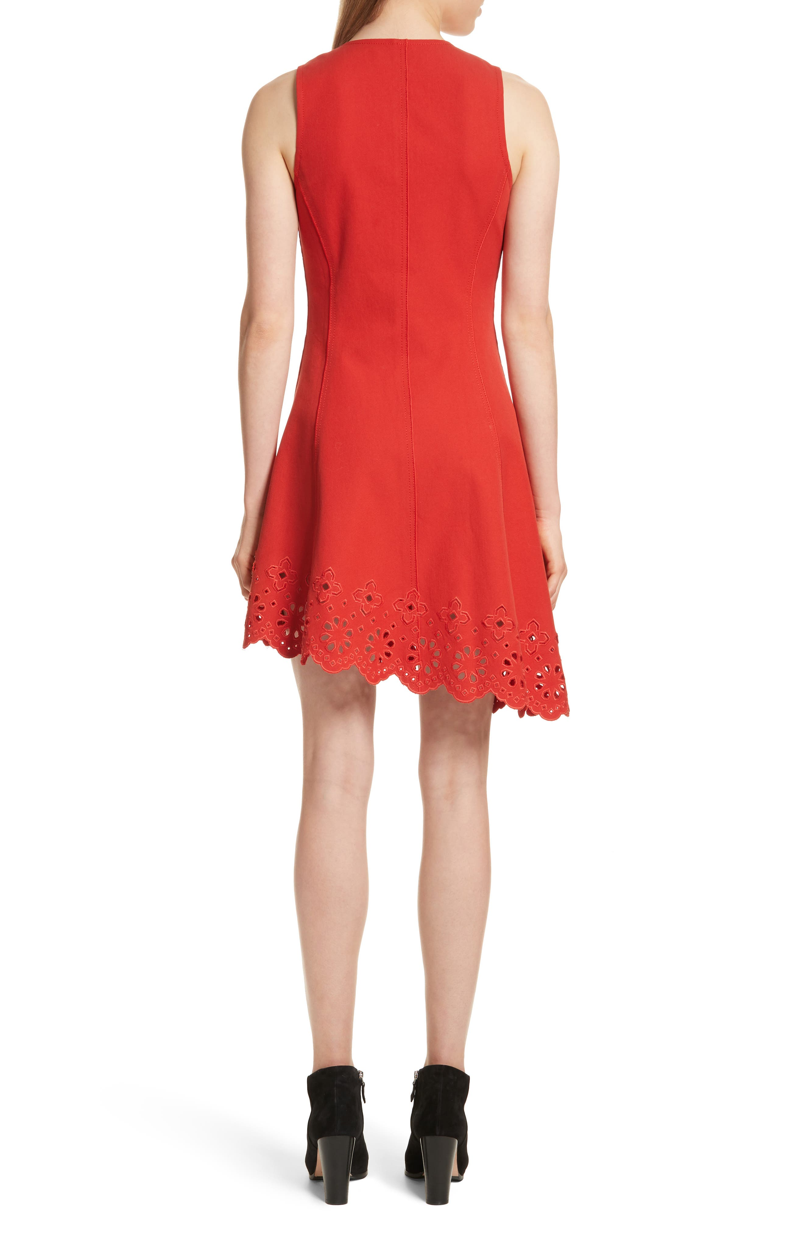 Scallop Hem Dress,                             Alternate thumbnail 2, color,                             Red Clay