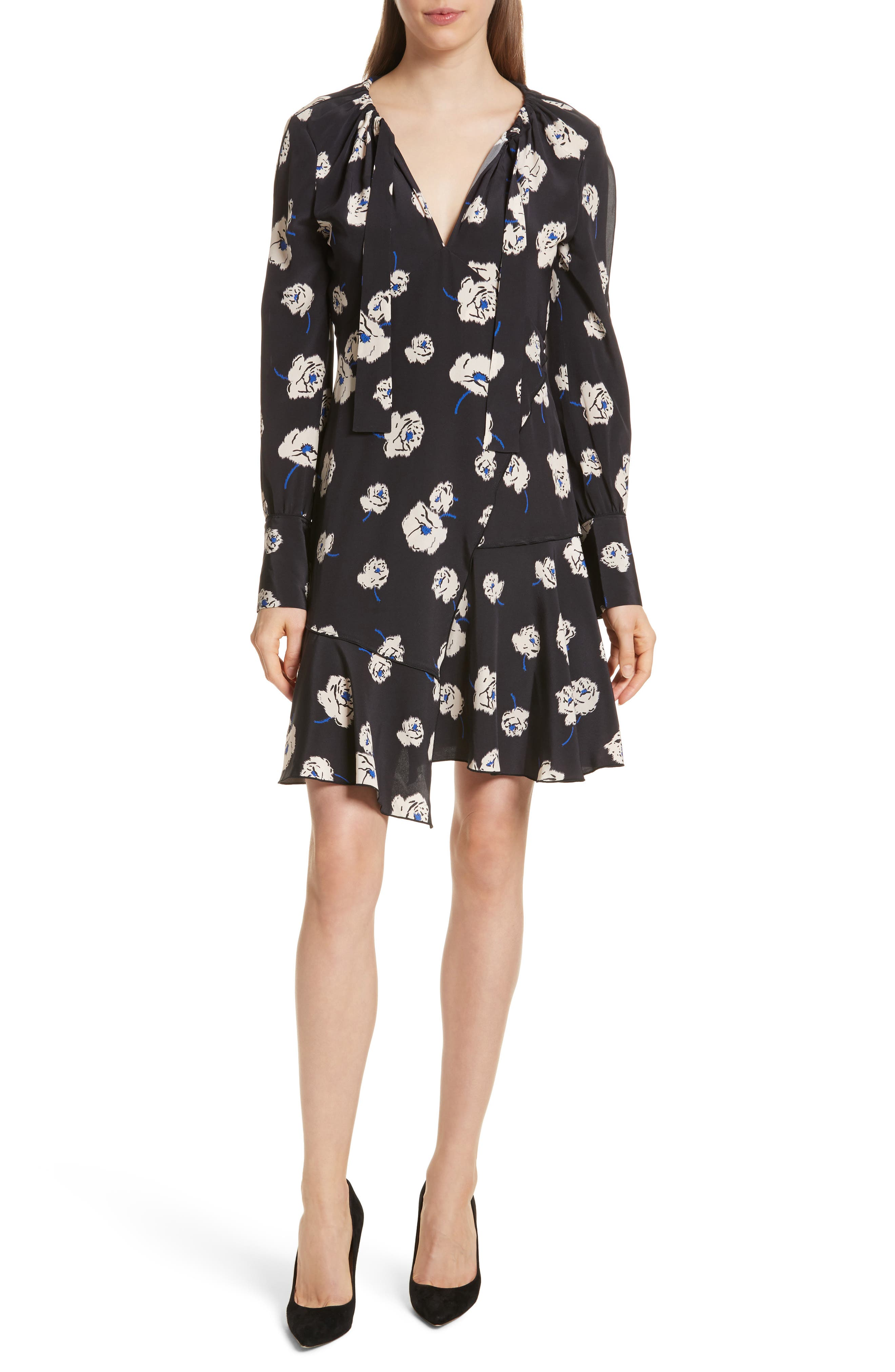 Floral Ruffle Silk Dress,                         Main,                         color, Black