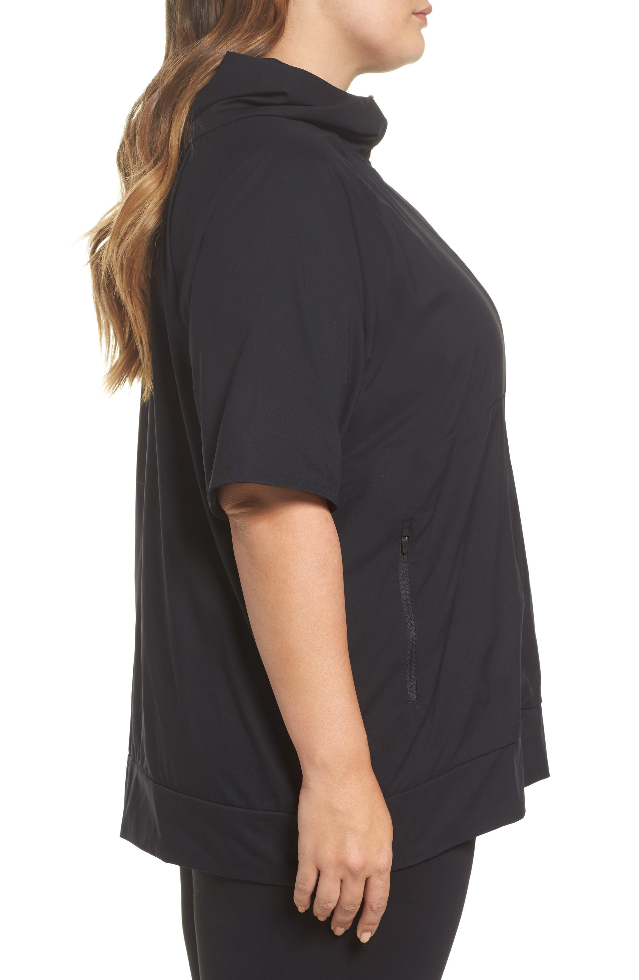 Flex Hooded Running Jacket,                             Alternate thumbnail 3, color,                             Black
