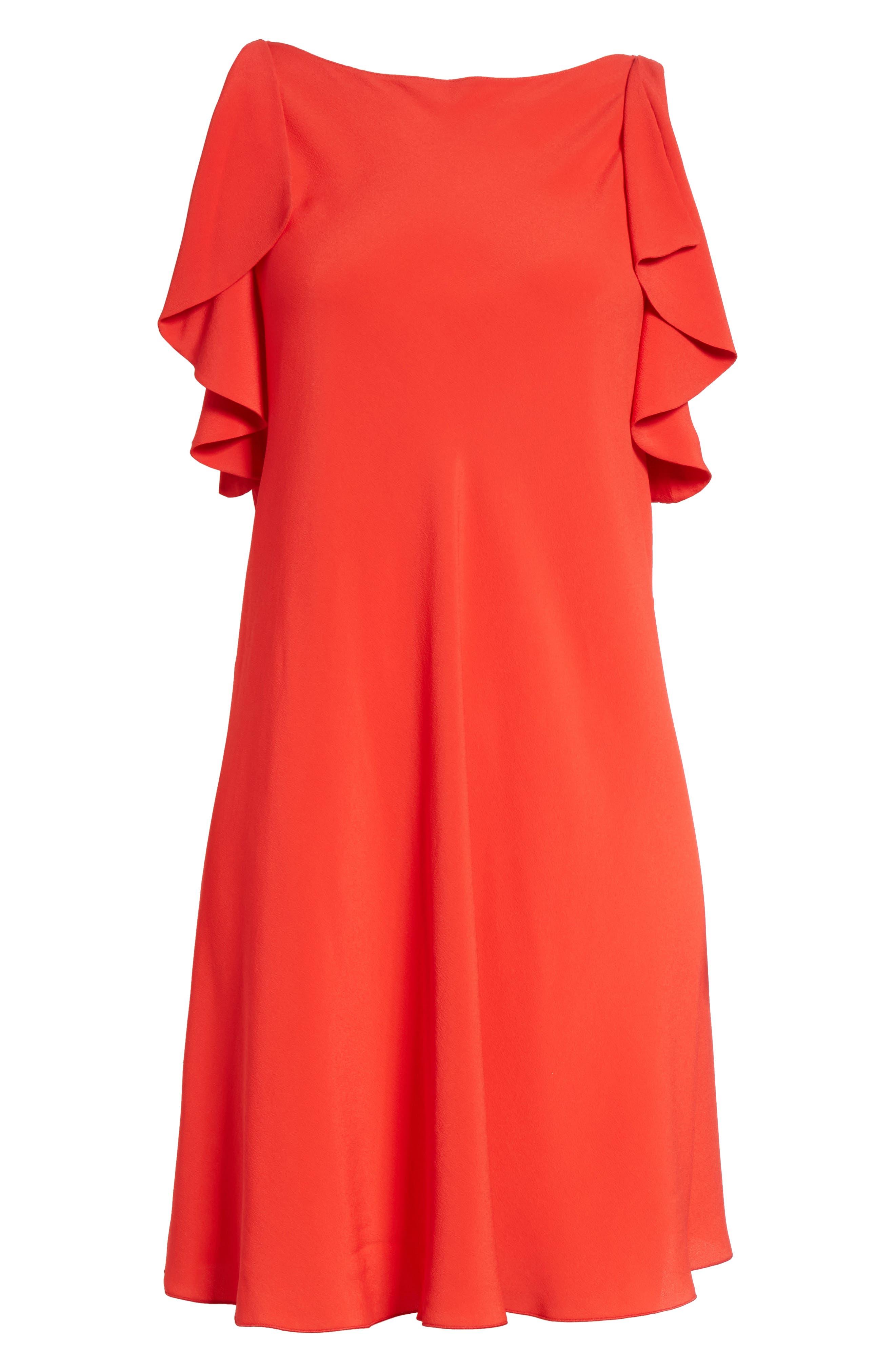 Ruffle Trim A-Line Dress,                             Alternate thumbnail 6, color,                             Red
