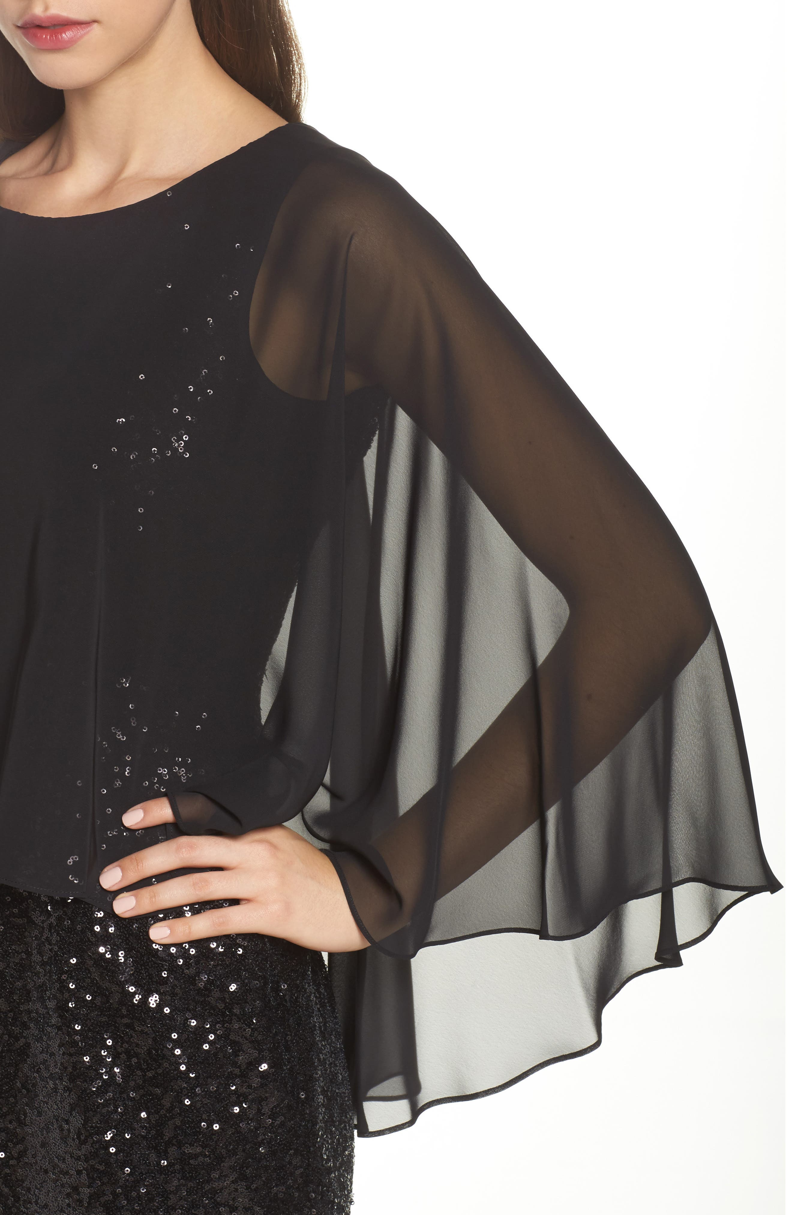 Capelet Sequin Shift Dress,                             Alternate thumbnail 4, color,                             Black