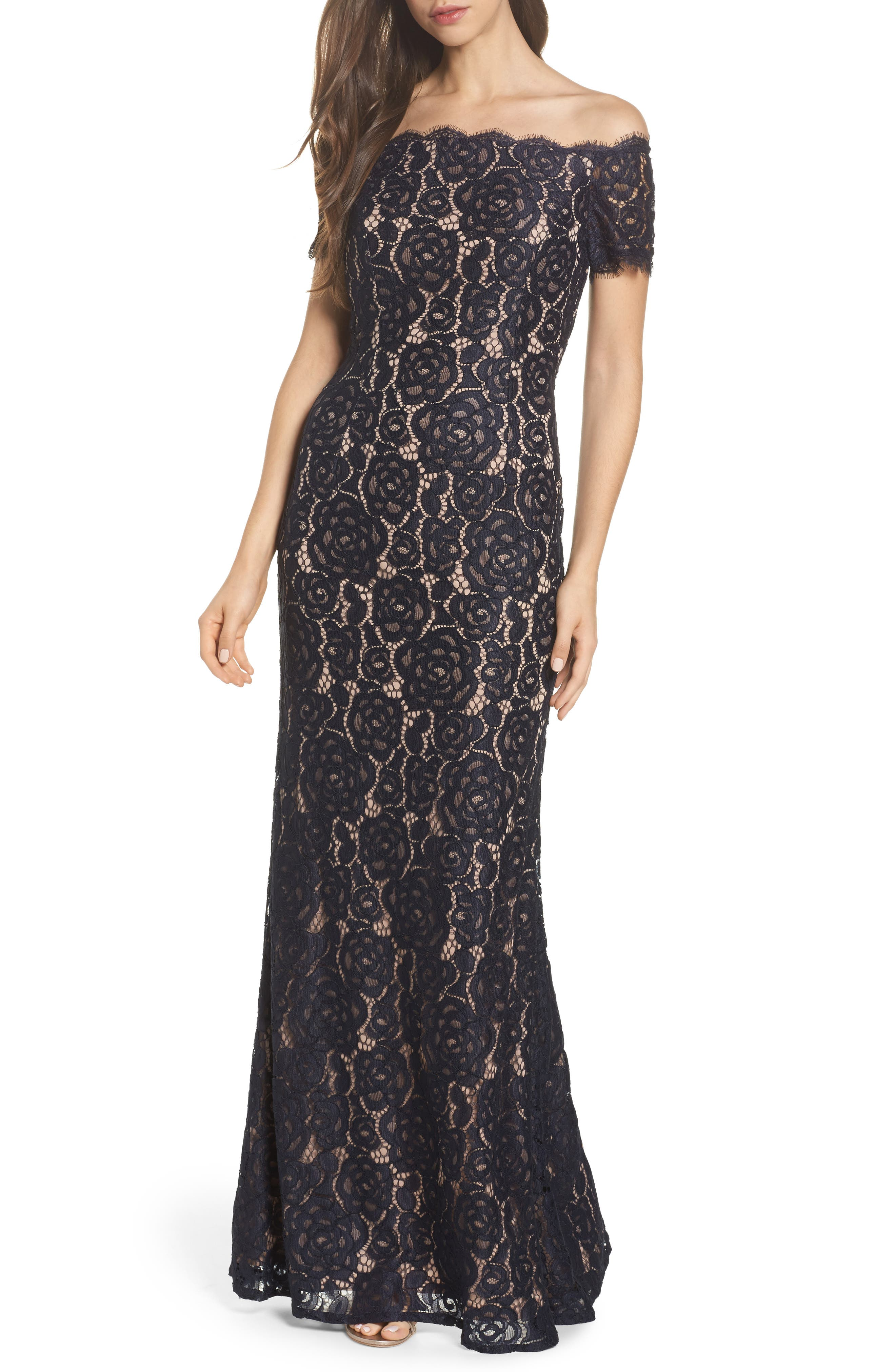 Off the Shoulder Gown,                         Main,                         color, Midnight/Nude