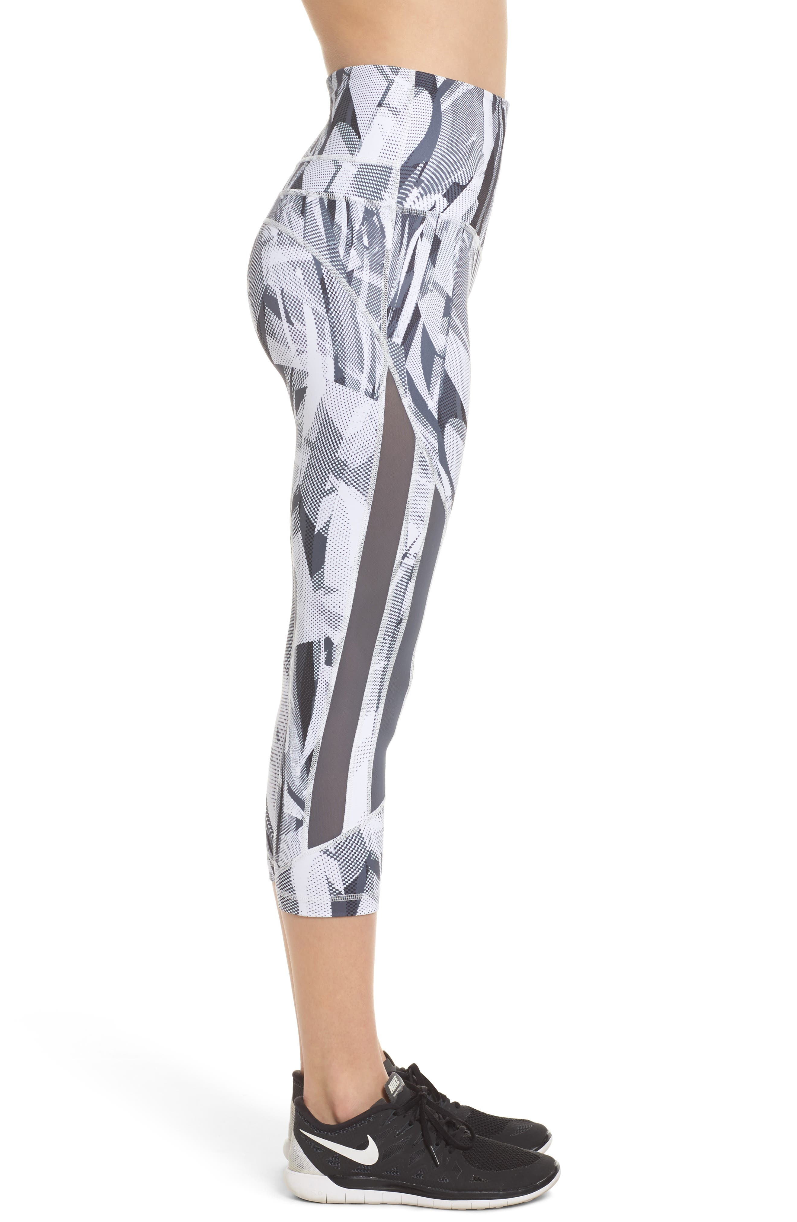 Sheer to There High Waist Crop Leggings,                             Alternate thumbnail 3, color,                             White Atmospheric Camo Print