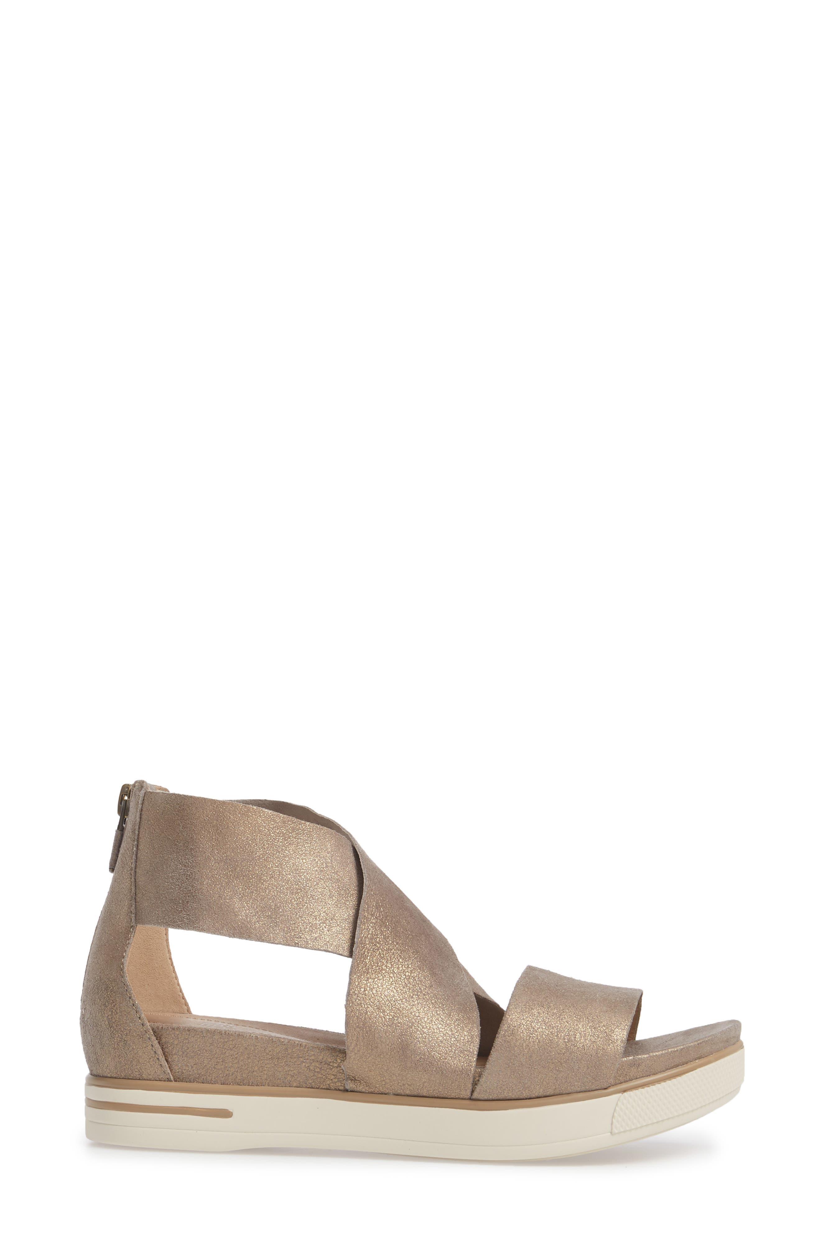 Sport Platform Sandal,                             Alternate thumbnail 3, color,                             Platinum Leather