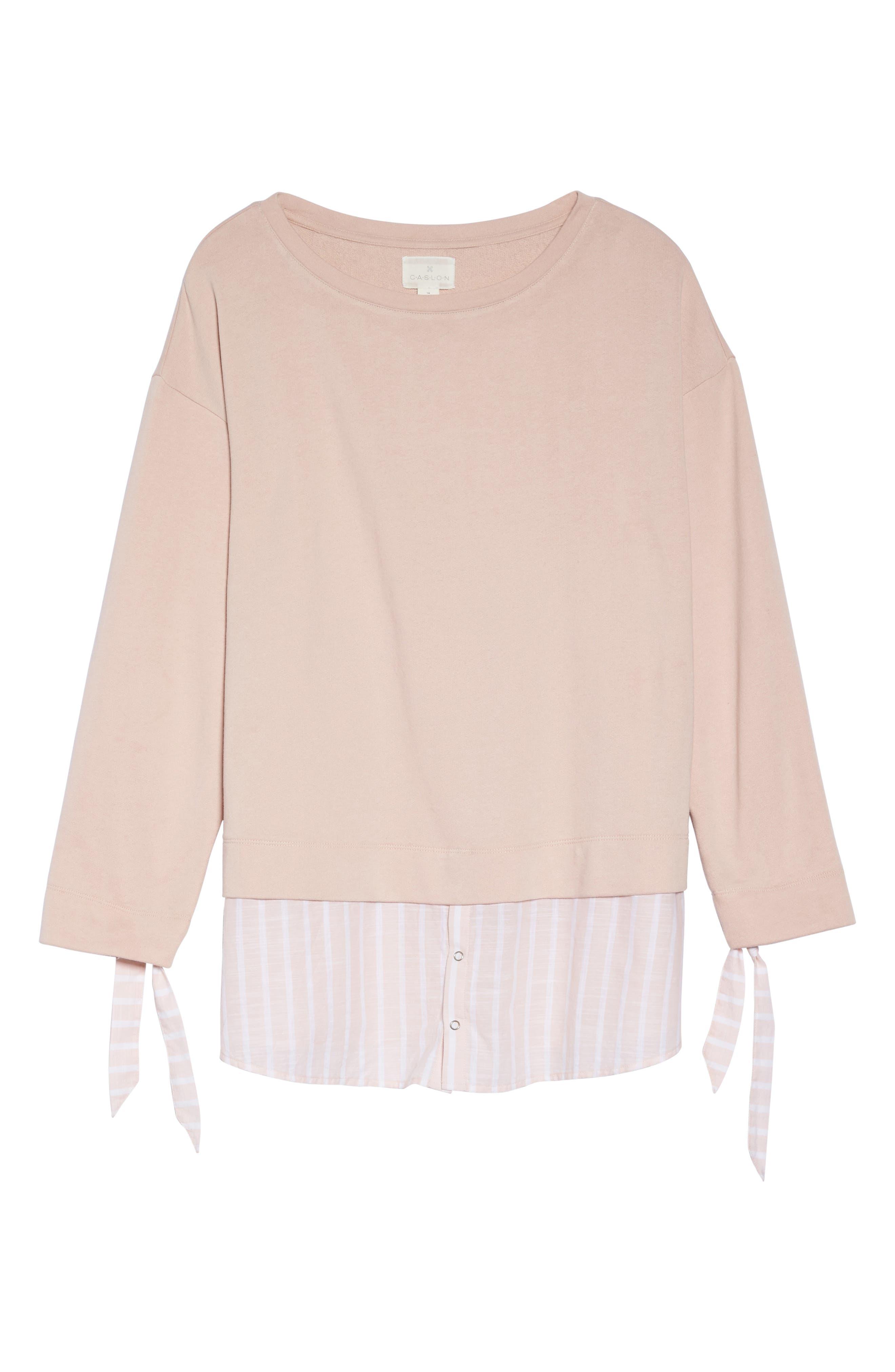 Woven Hem Sweatshirt,                             Alternate thumbnail 6, color,                             Pink- Stripe Colorblock