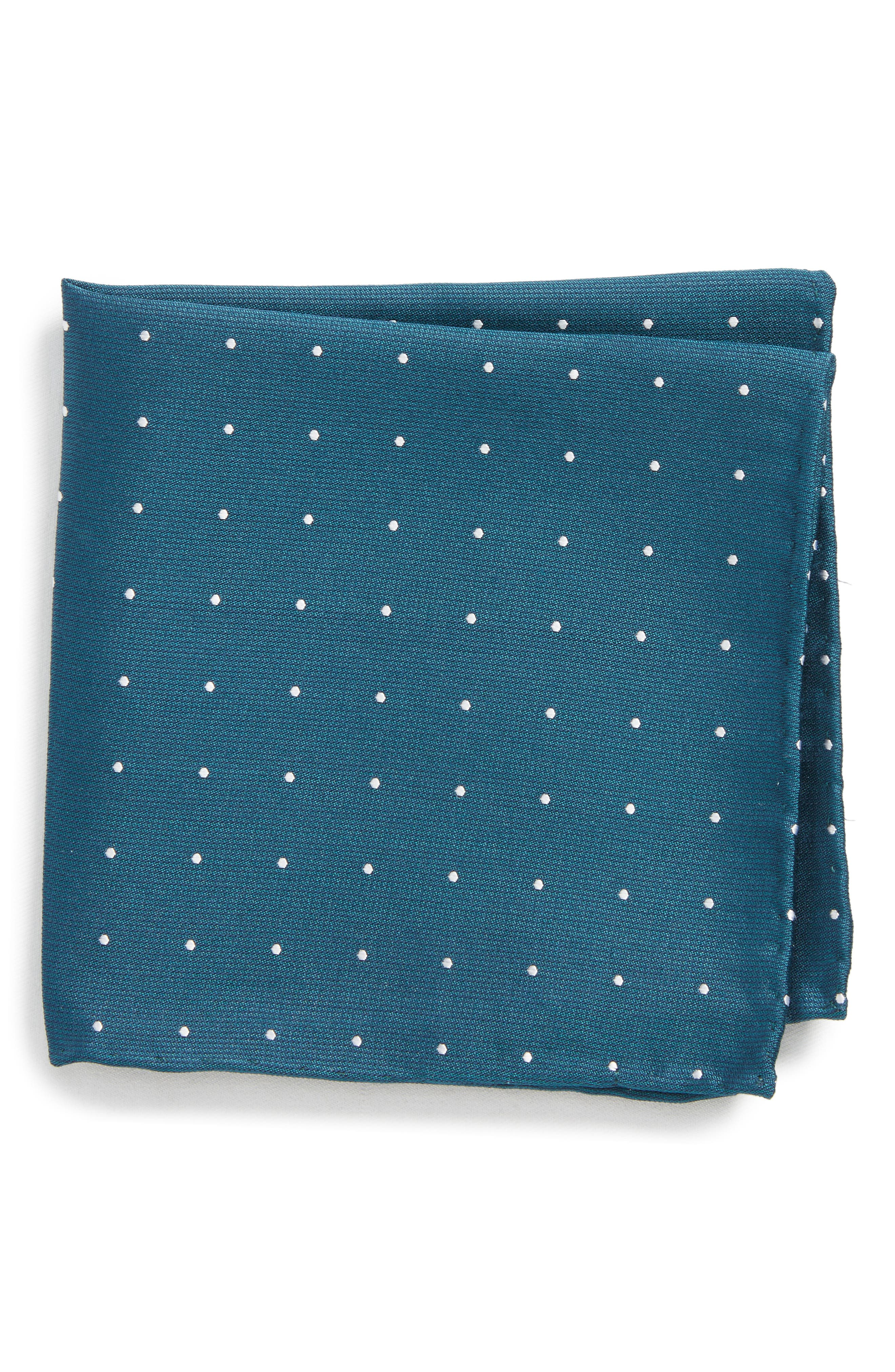Dot Silk Pocket Square,                             Main thumbnail 1, color,                             Teal