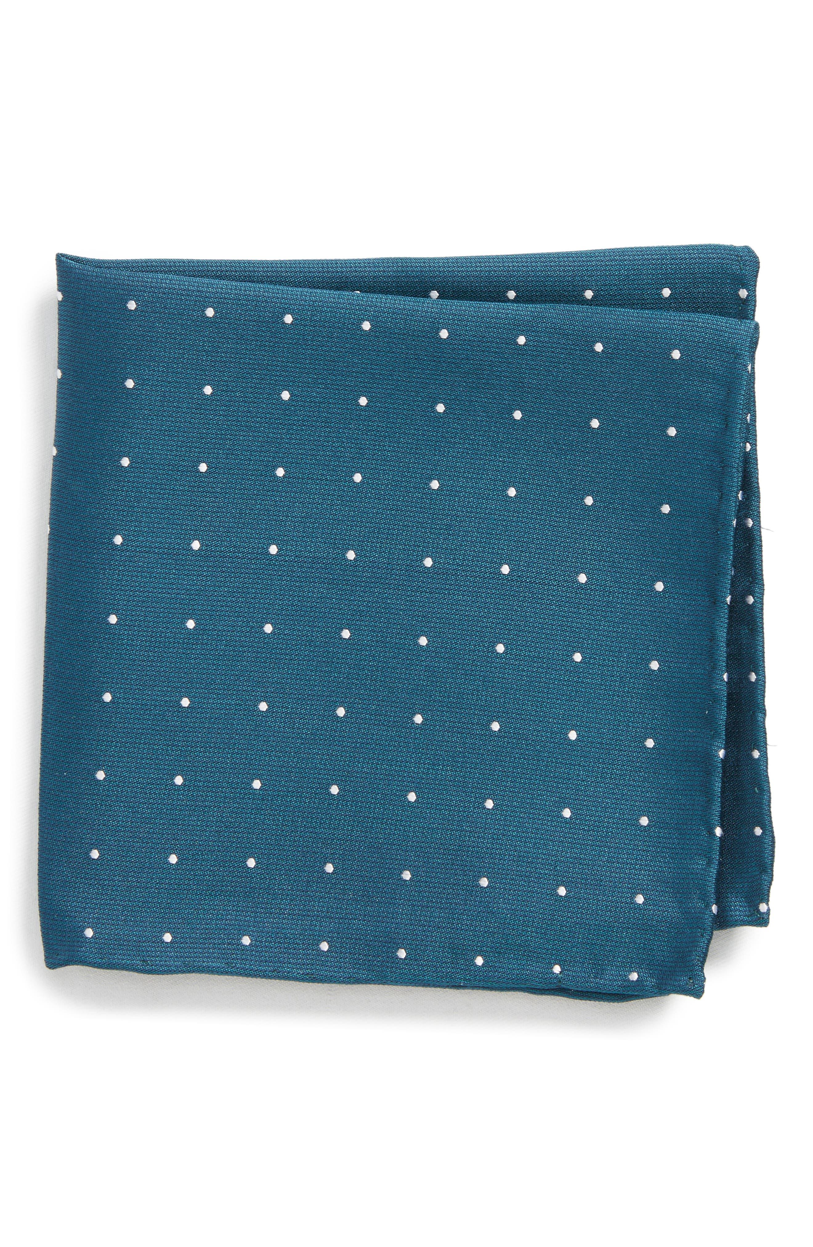Dot Silk Pocket Square,                         Main,                         color, Teal