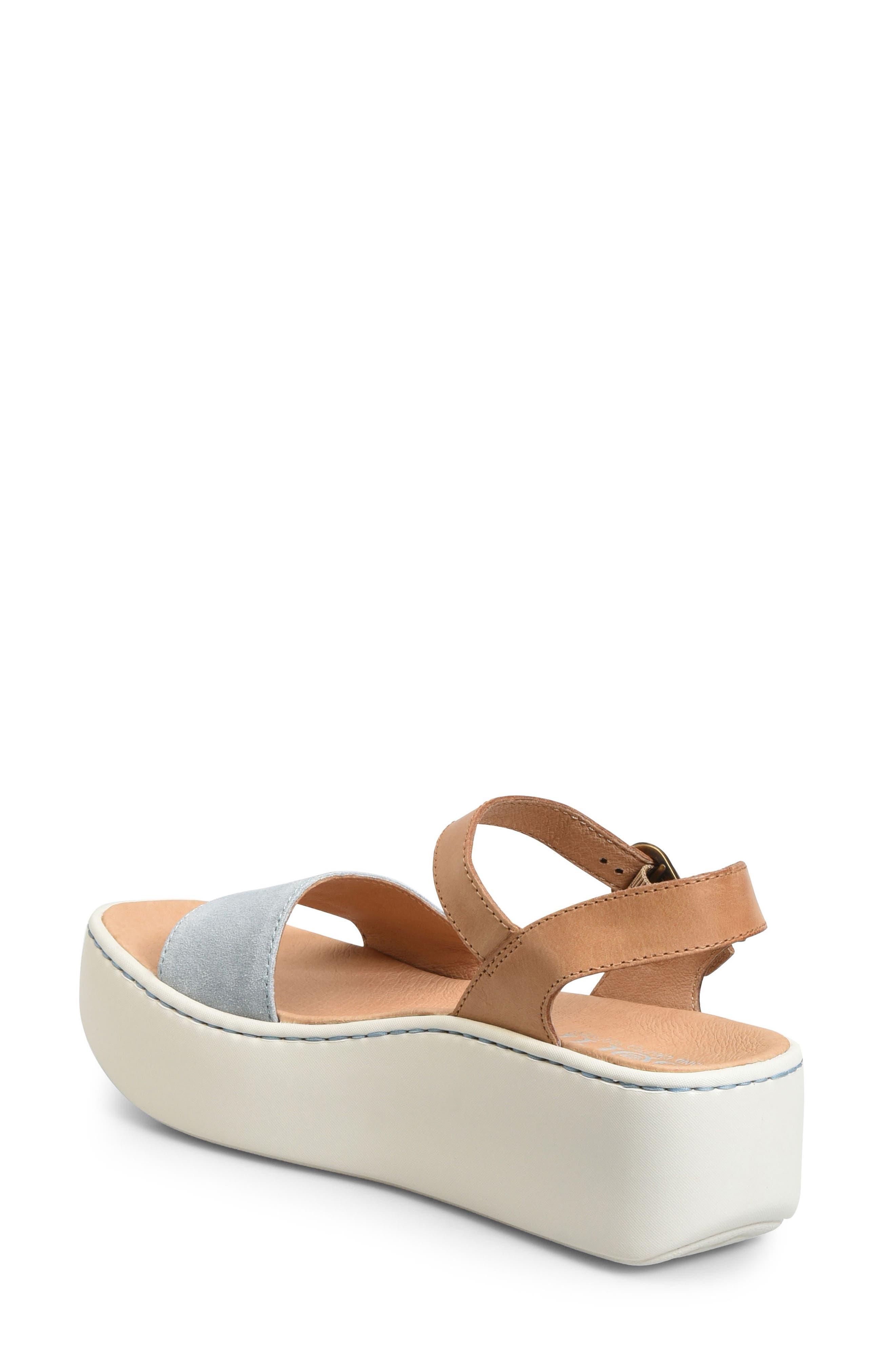 Breaker Platform Sandal,                             Alternate thumbnail 2, color,                             Light Blue/ Tan Leather