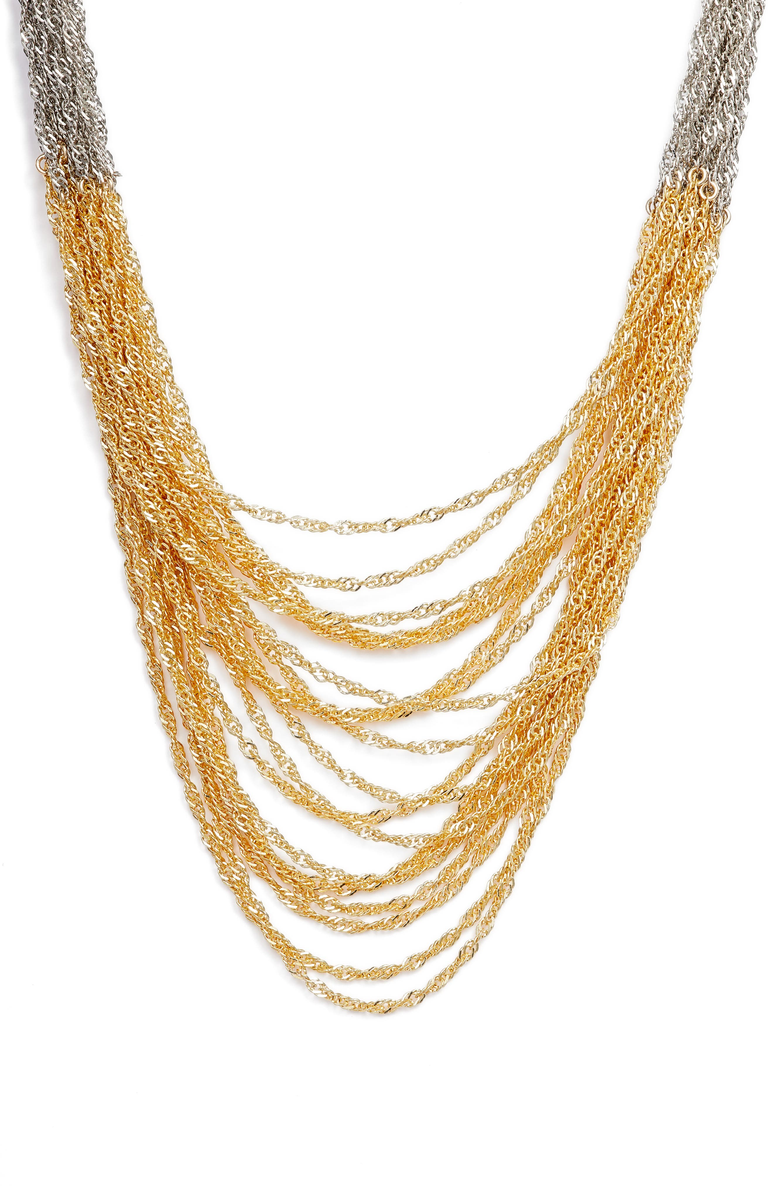 Colorblock Chain Necklace,                             Main thumbnail 1, color,                             Silver/ Gold