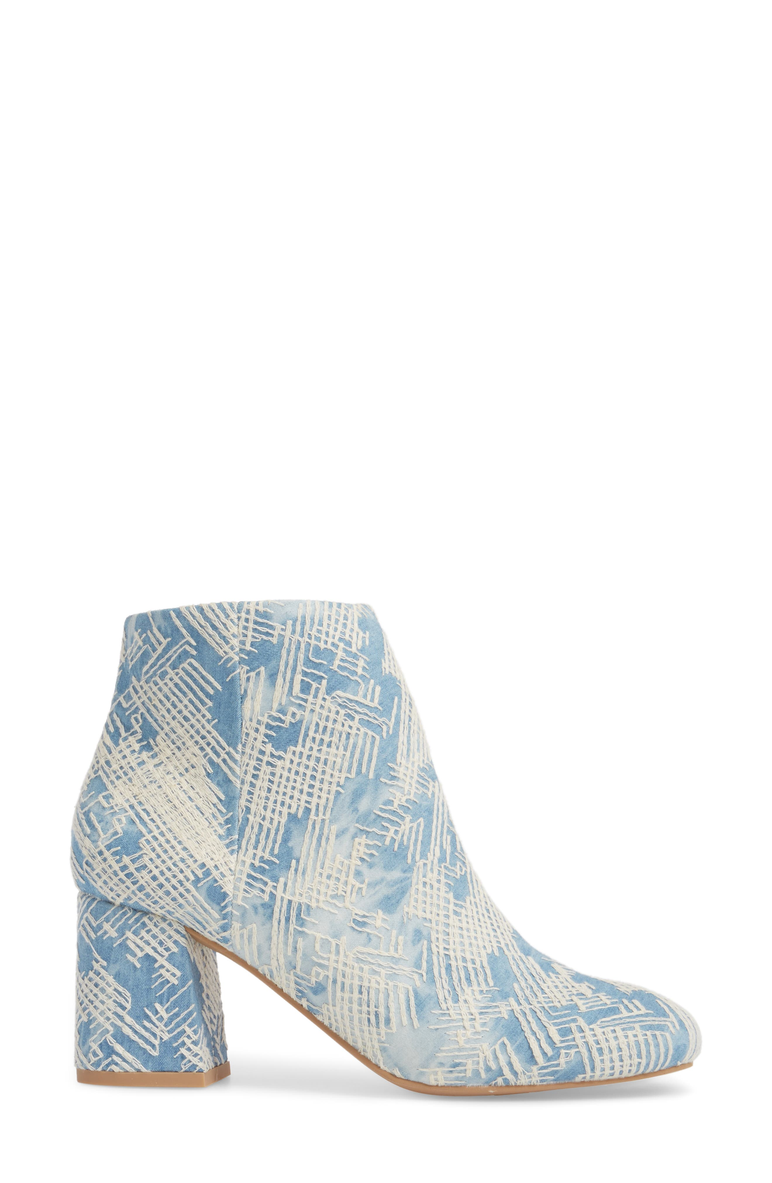 Audition Bootie,                             Alternate thumbnail 3, color,                             Emrboidered Denim
