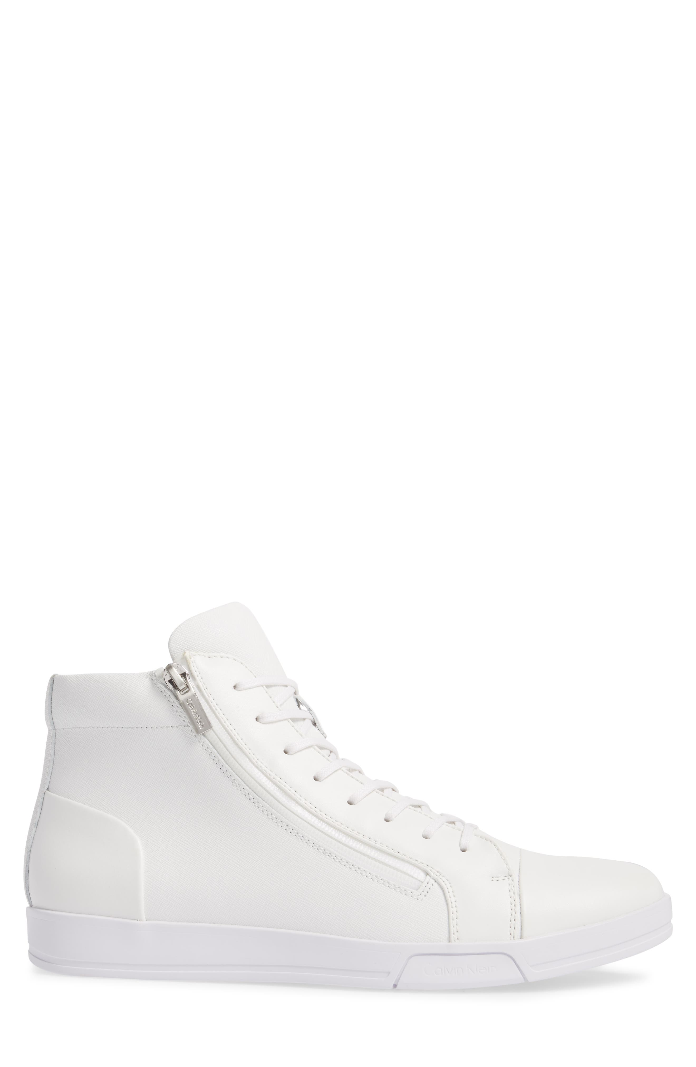 Berke High Top Sneaker,                             Alternate thumbnail 3, color,                             White Leather