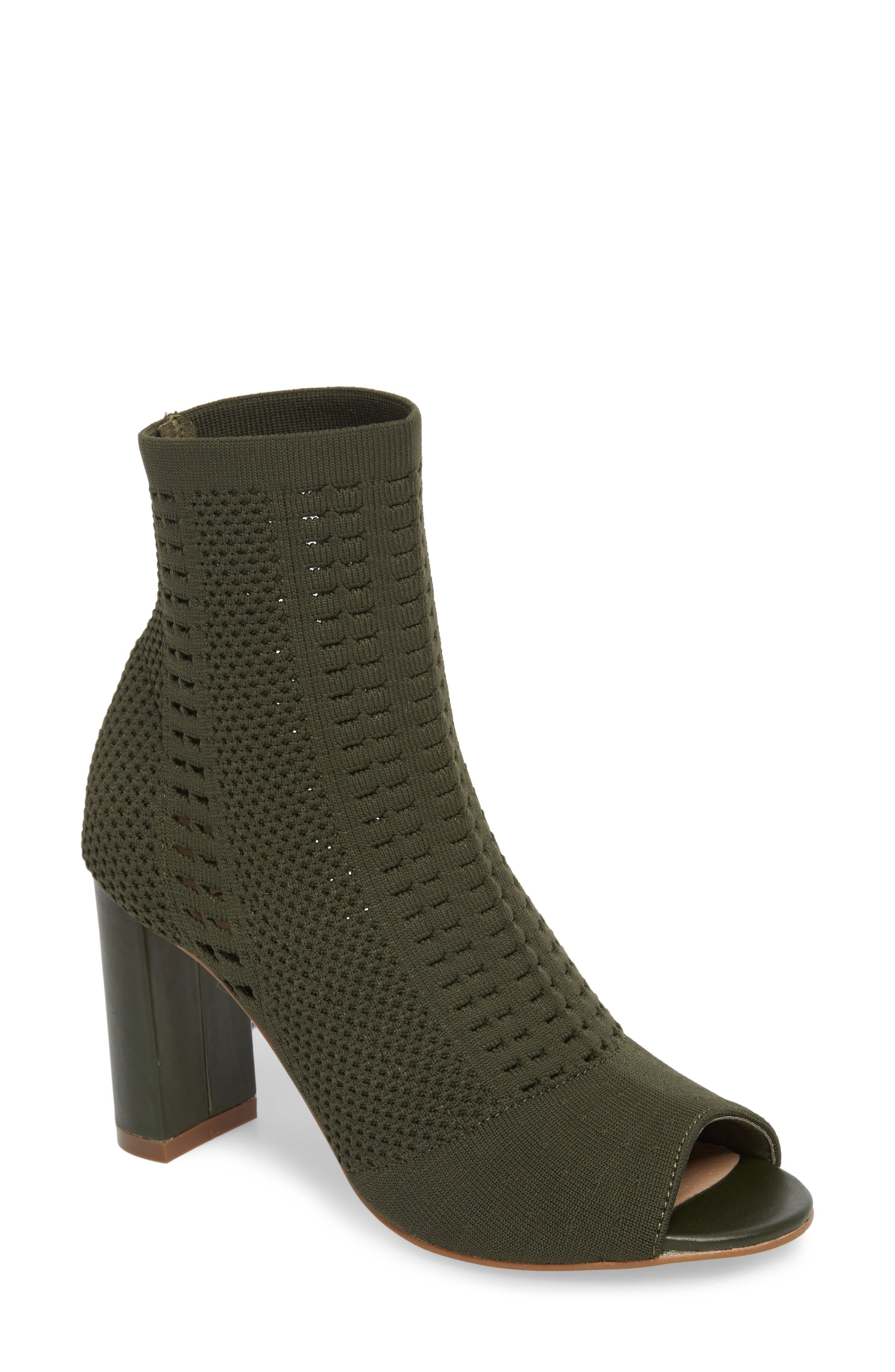 MATISSE Can'T Stop Open Toe Sock Bootie in Olive Stretch