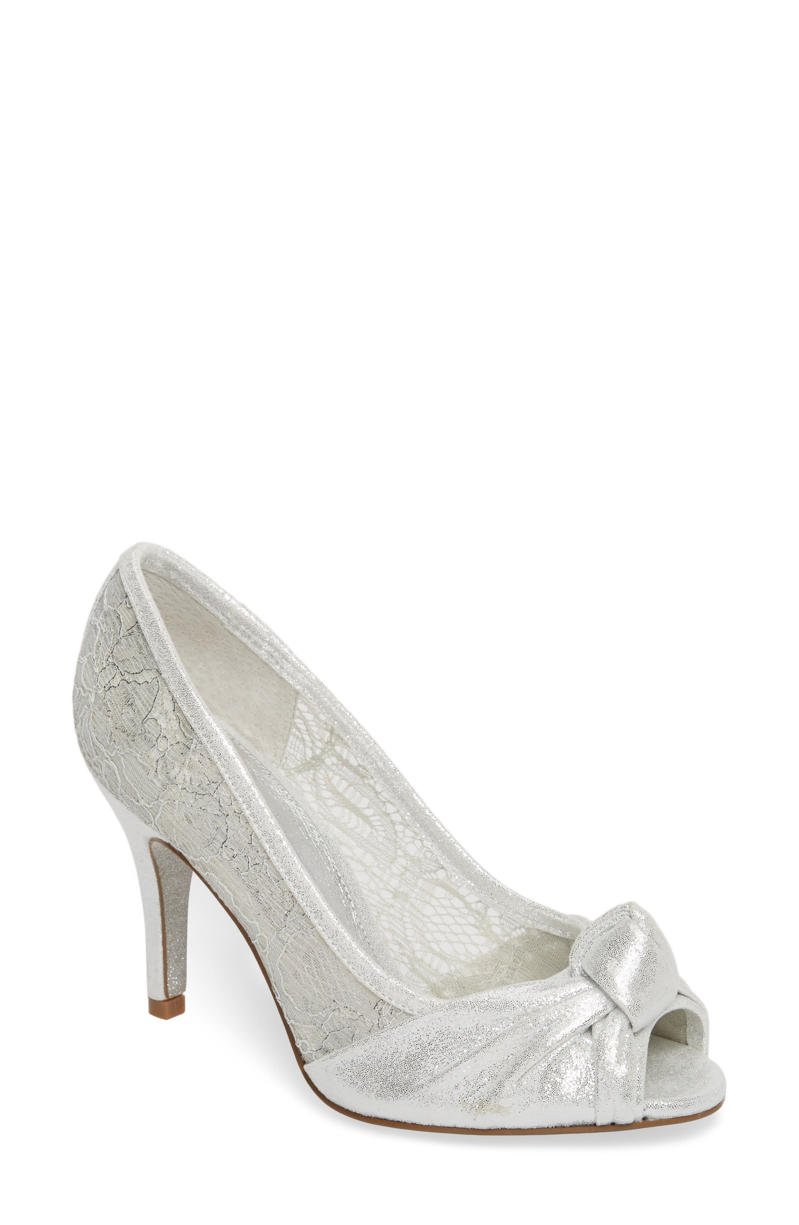 Francesca Knotted Peep Toe Pump,                         Main,                         color, Silver Satin