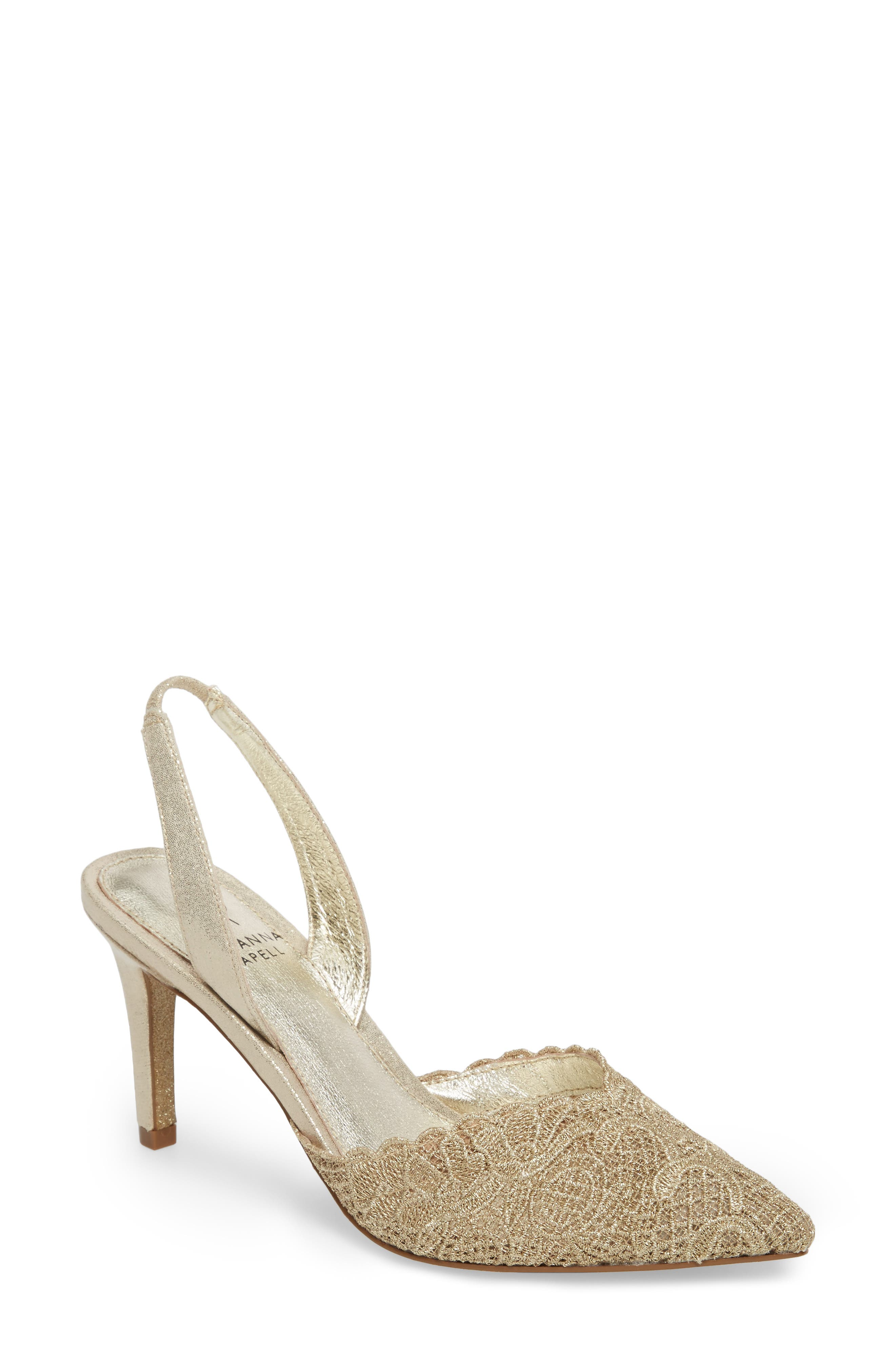 Hallie Slingback Pump,                         Main,                         color, Gold Attalie Lace Fabric