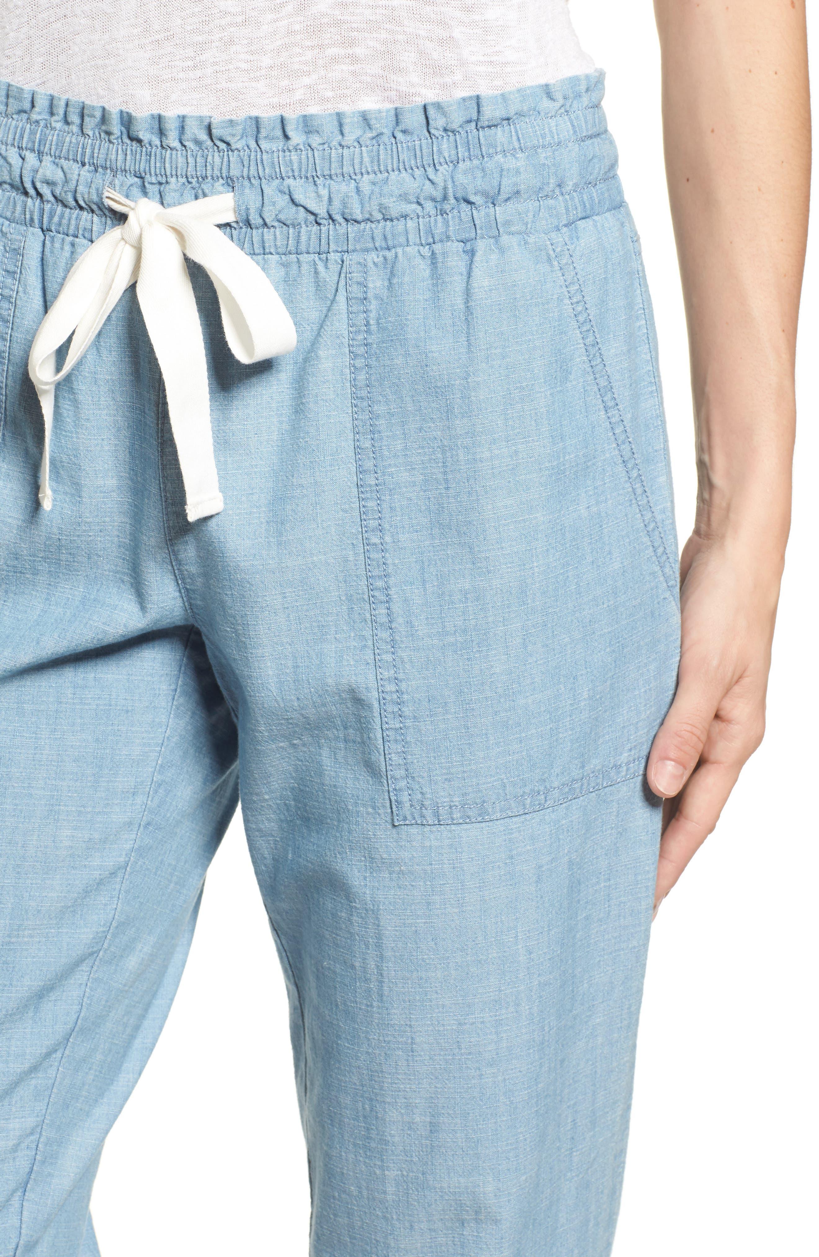 Drawstring Cotton Pants,                             Alternate thumbnail 5, color,                             Ice Lagoon