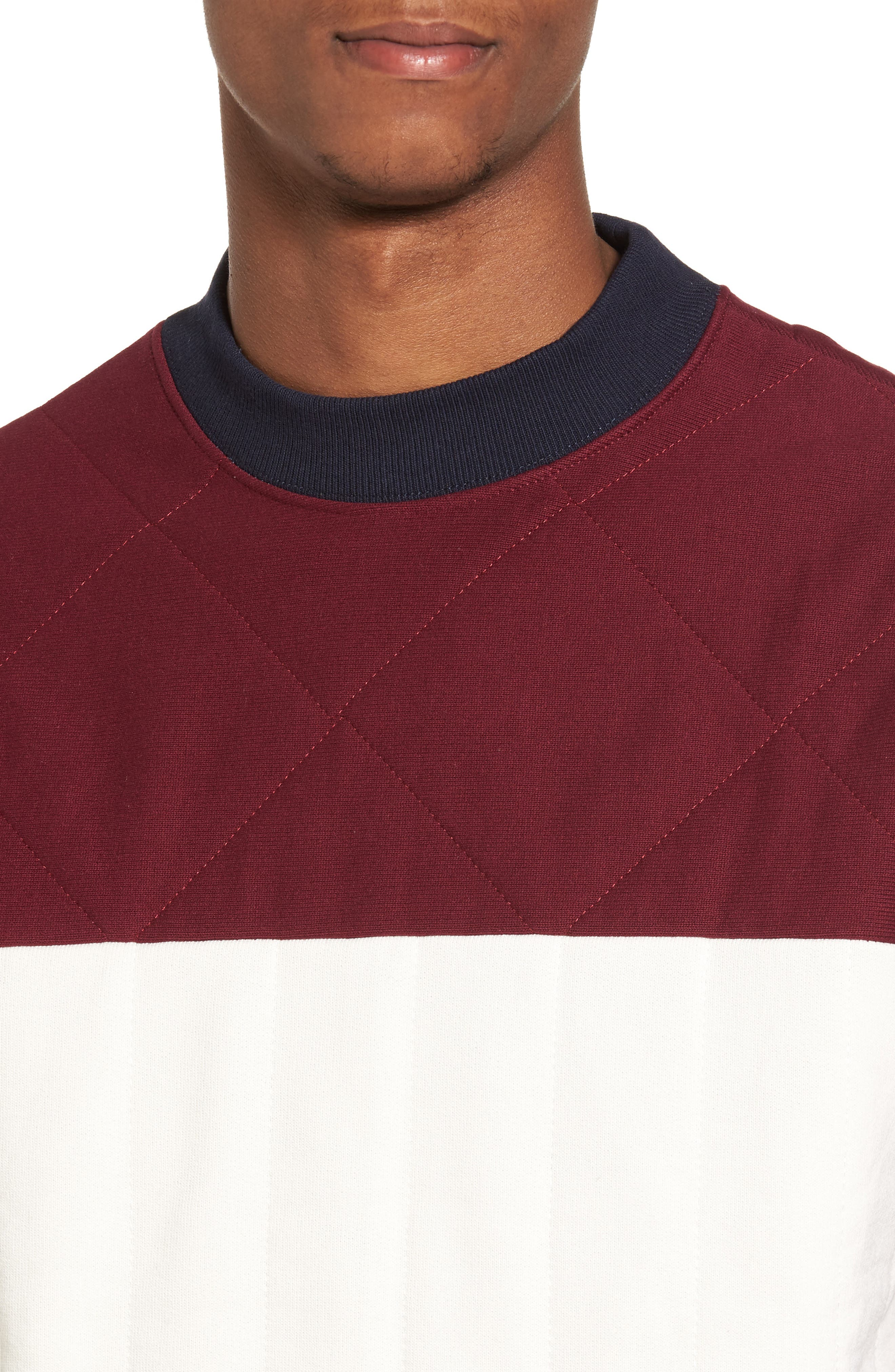 Quilted Colorblock Sweatshirt,                             Alternate thumbnail 4, color,                             Burgundy