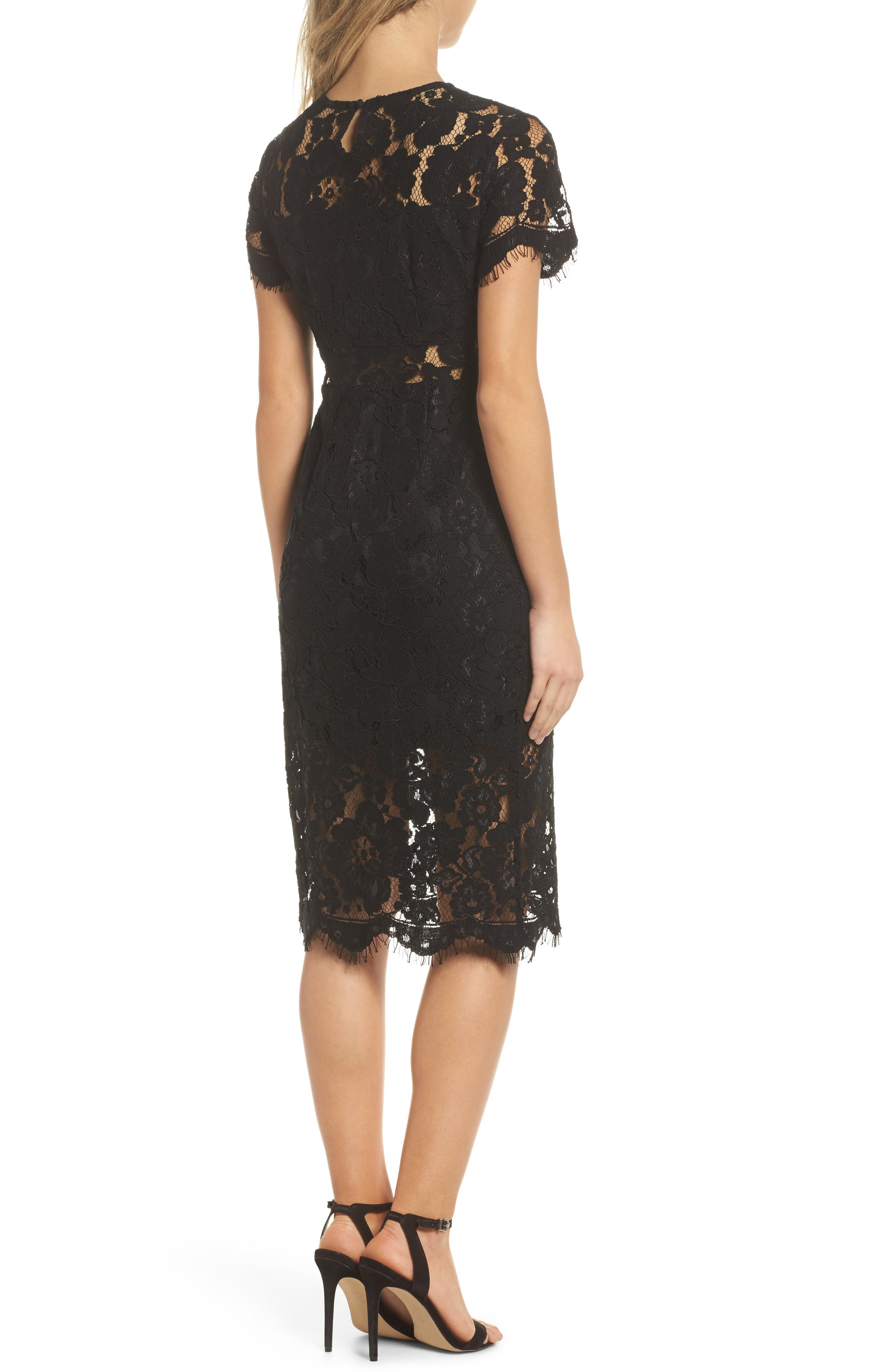 Lace Midi Dress,                             Alternate thumbnail 2, color,                             Black