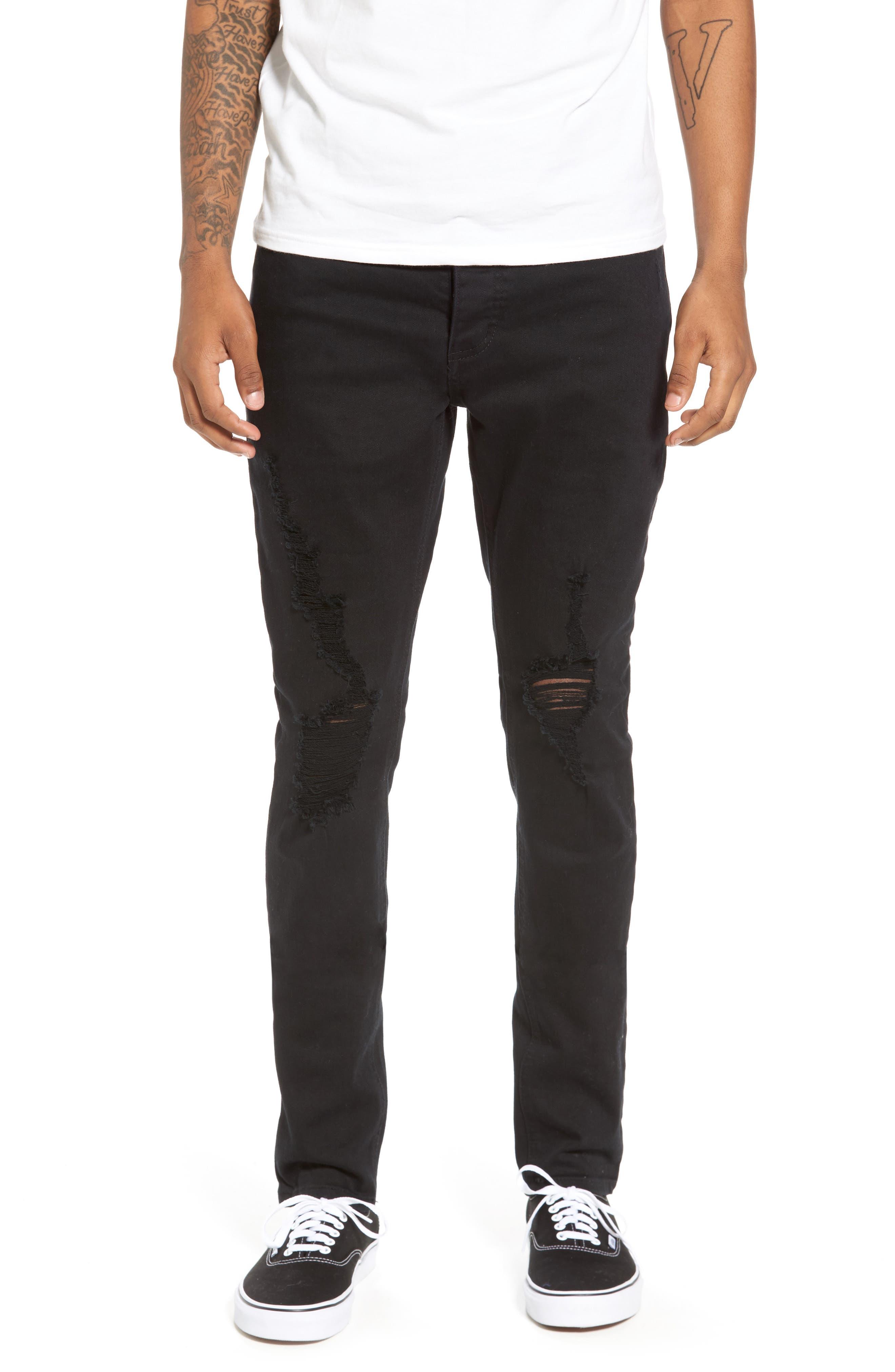 Joe Blow Destroyed Denim Jeans,                             Main thumbnail 1, color,                             Black Shred