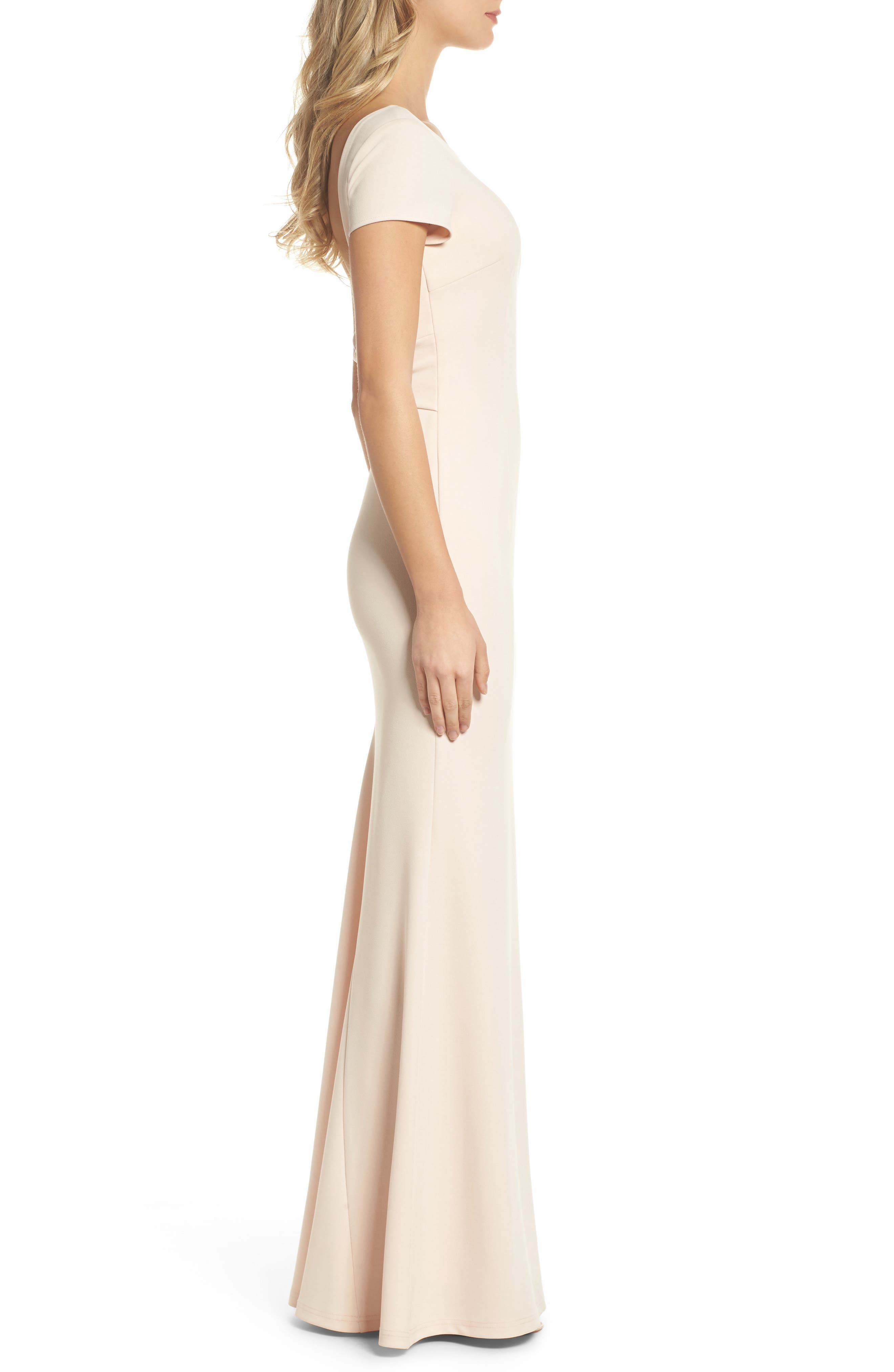 Twist Back Mermaid Gown,                             Alternate thumbnail 3, color,                             Blush