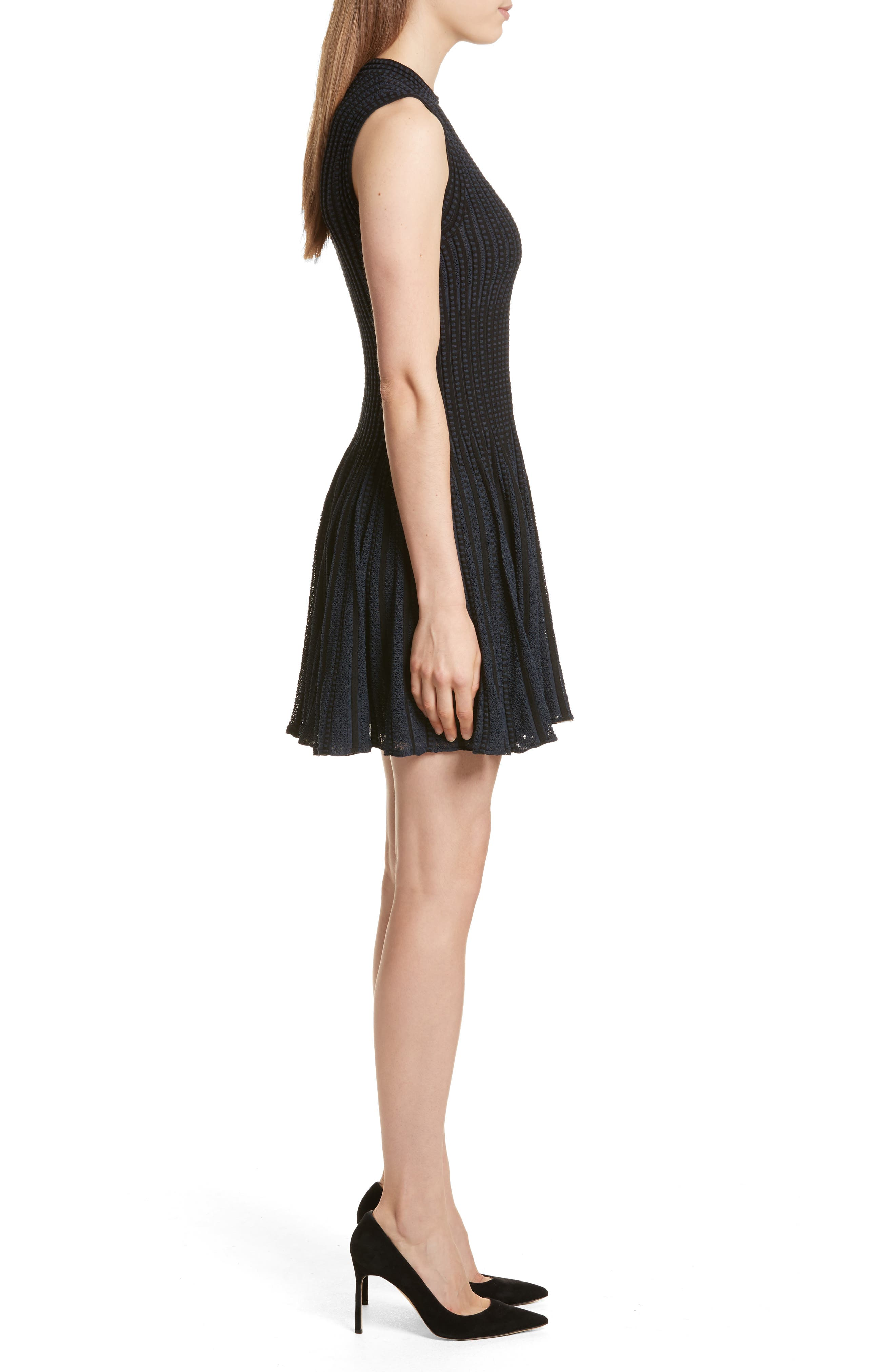 Check Knit Fit & Flare Dress,                             Alternate thumbnail 3, color,                             Black/ Deep Navy