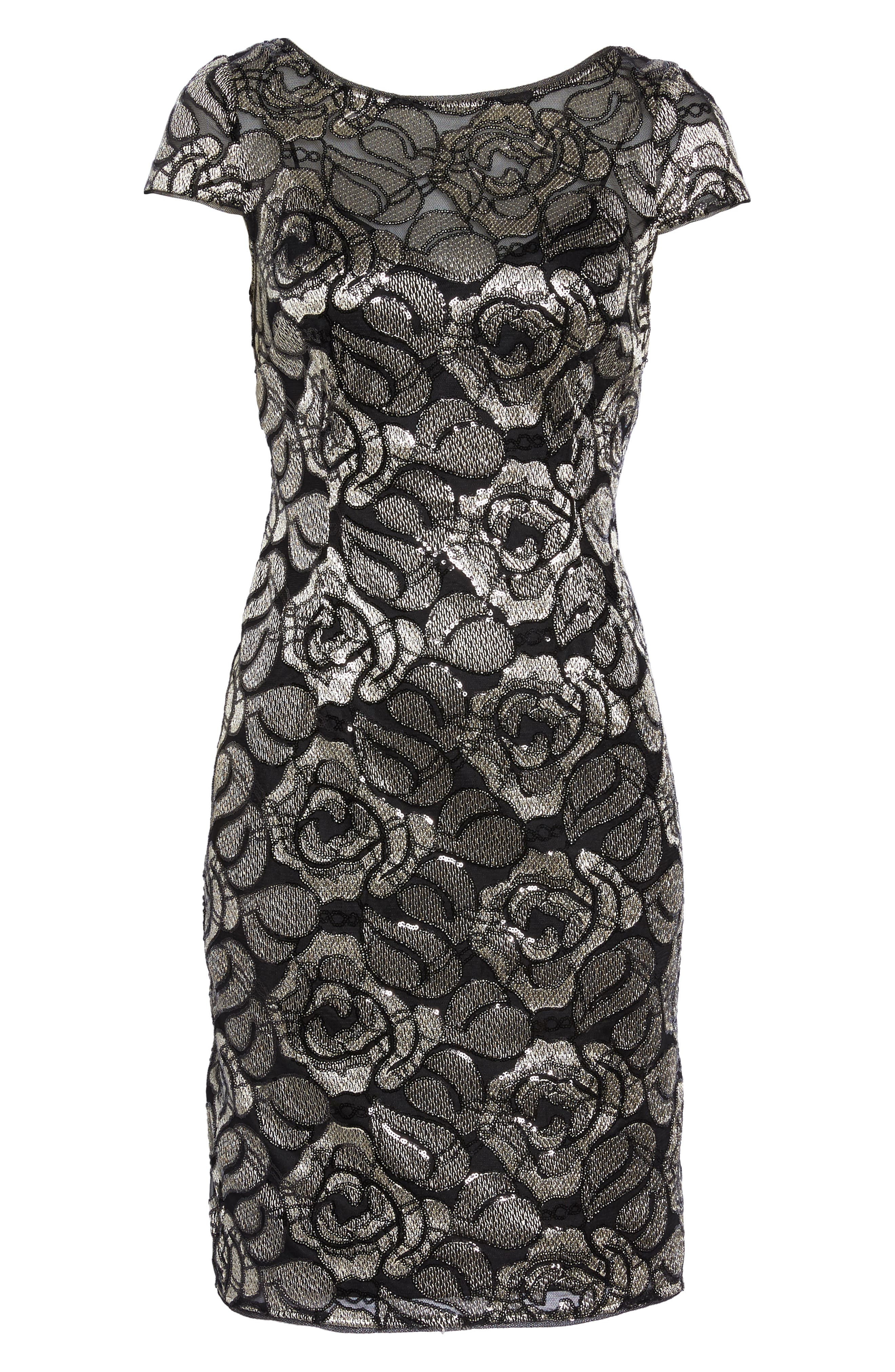 Sequin Embroidered Rose Cocktail Dress,                             Alternate thumbnail 6, color,                             Black/Gold